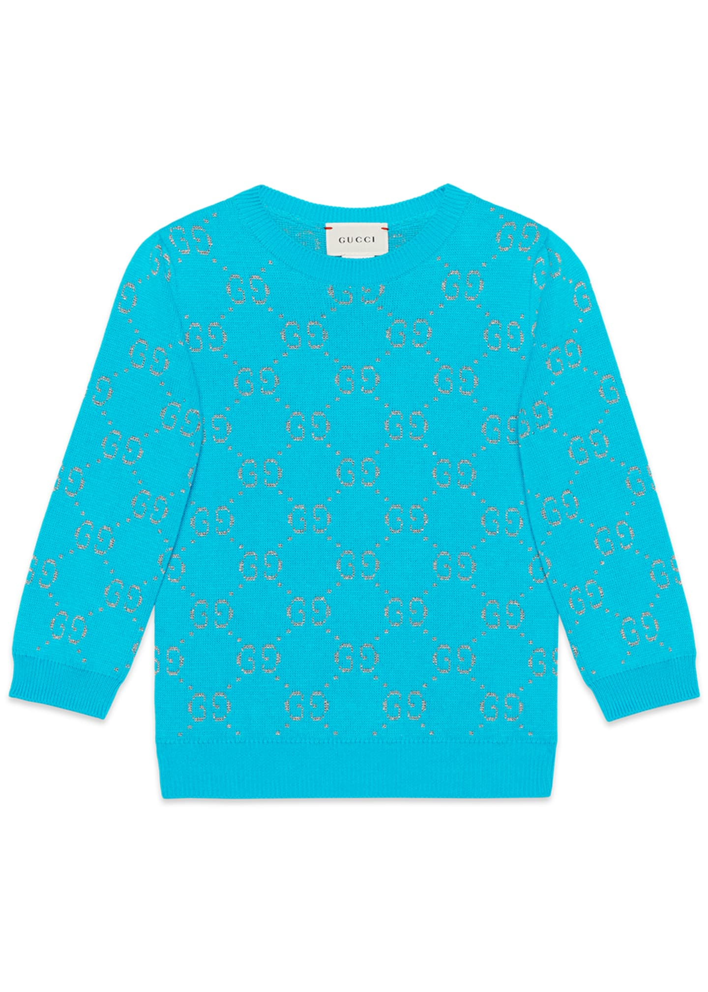 Gucci Girls' GG Printed 3/4-Sleeve Crewneck Sweater, Size