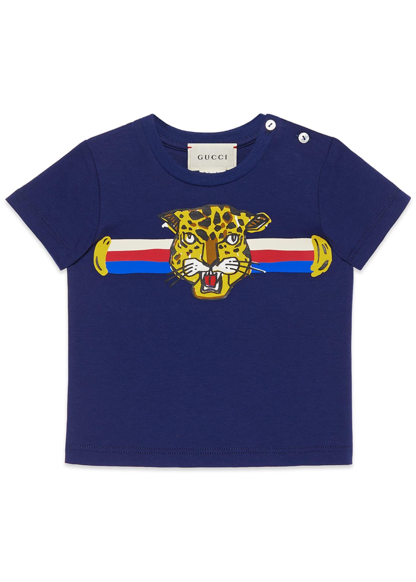 Gucci Boys' Cat Graphic Crewneck T-Shirt, Size 12-36