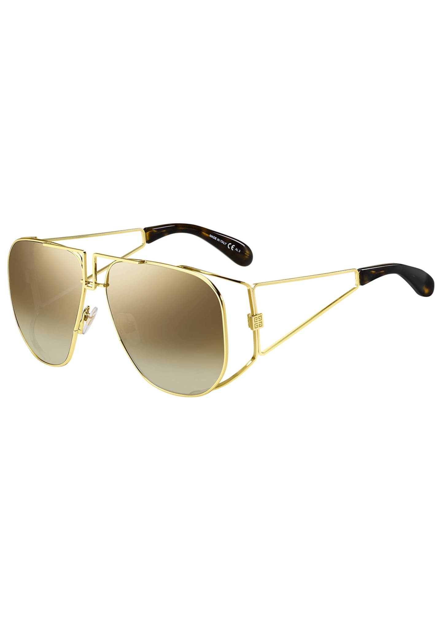 Image 1 of 1: Mirrored Shield Cutout Sunglasses