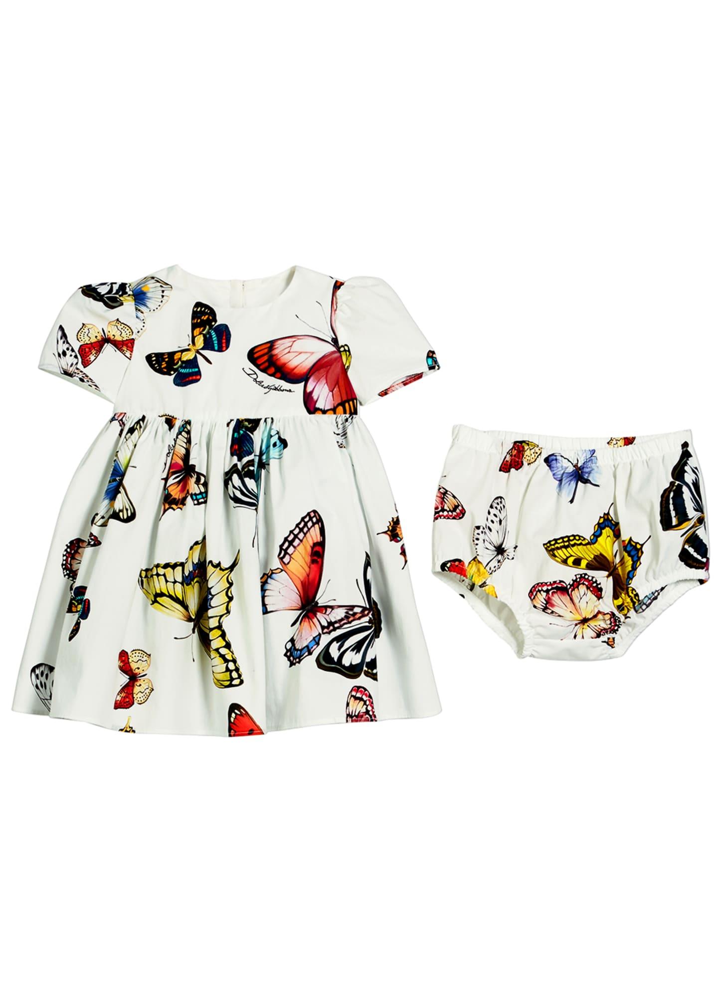 Dolce & Gabbana Butterfly-Print Poplin Dress w/ Bloomers,