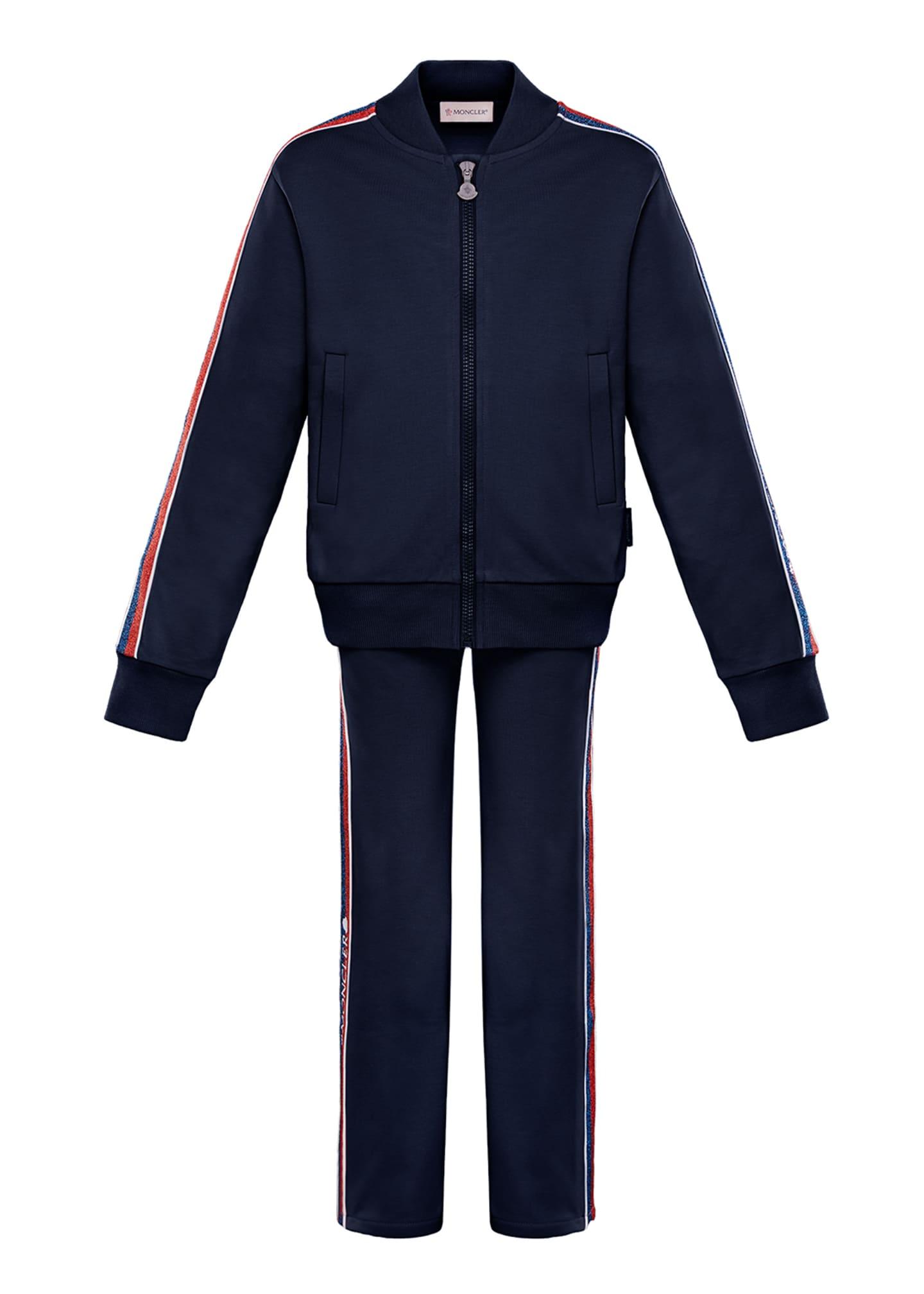 Moncler Glitter Striped-Trim Jacket w/ Matching Pants, Size