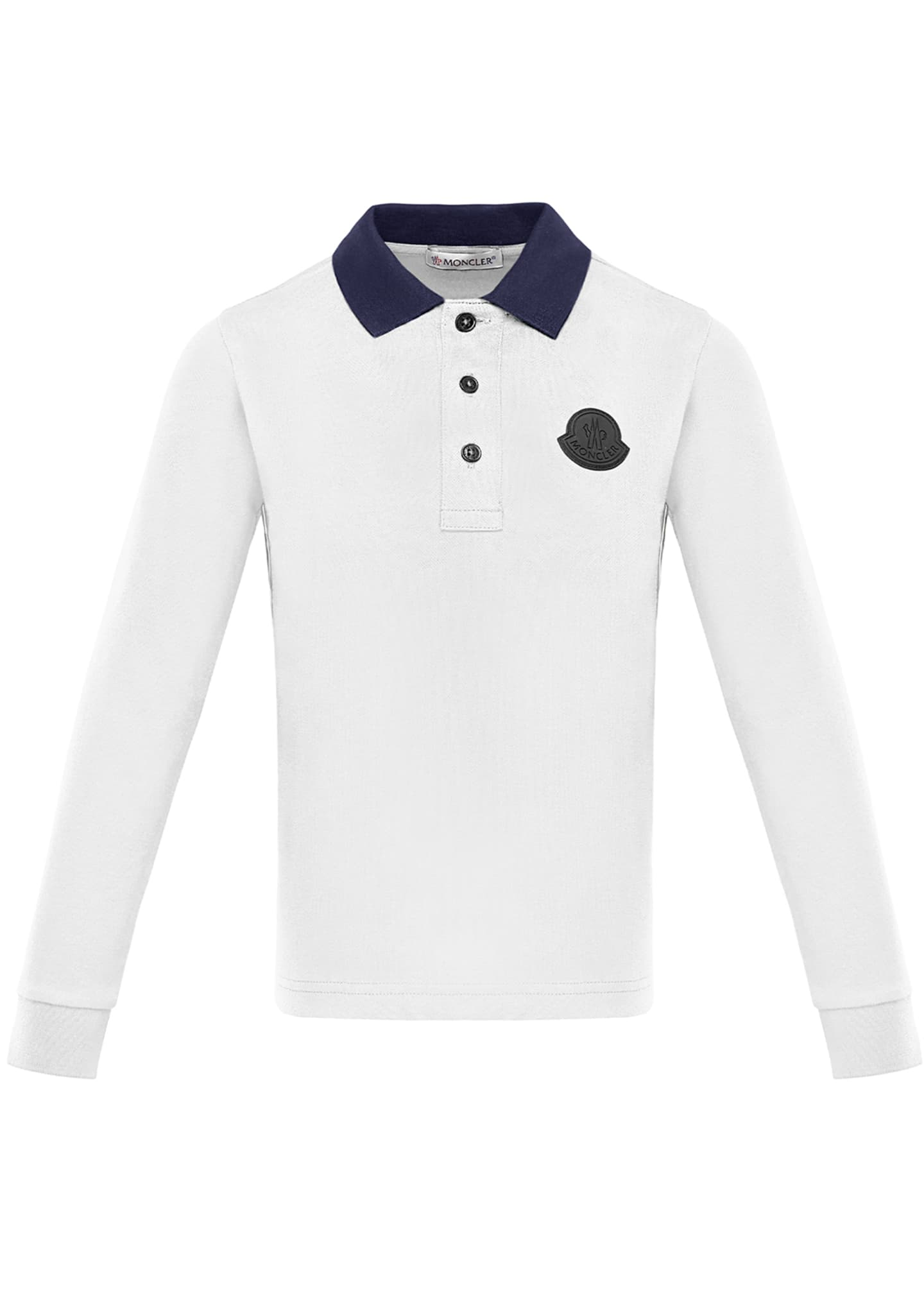 Moncler Long-Sleeve Polo Shirt w/ Side Taping, Size