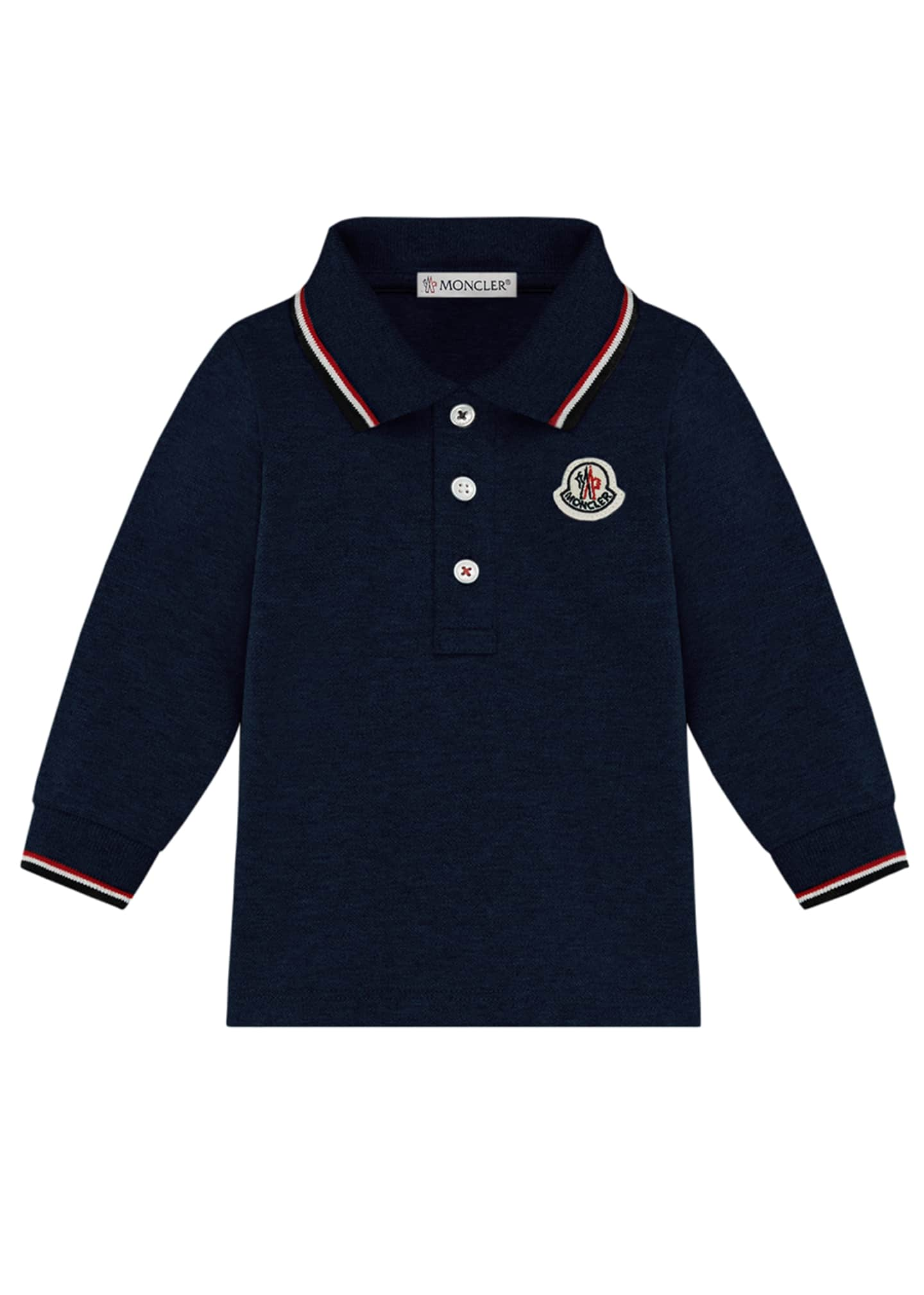 Moncler Long-Sleeve Polo Shirt w/ Tricolor Tipping, Size