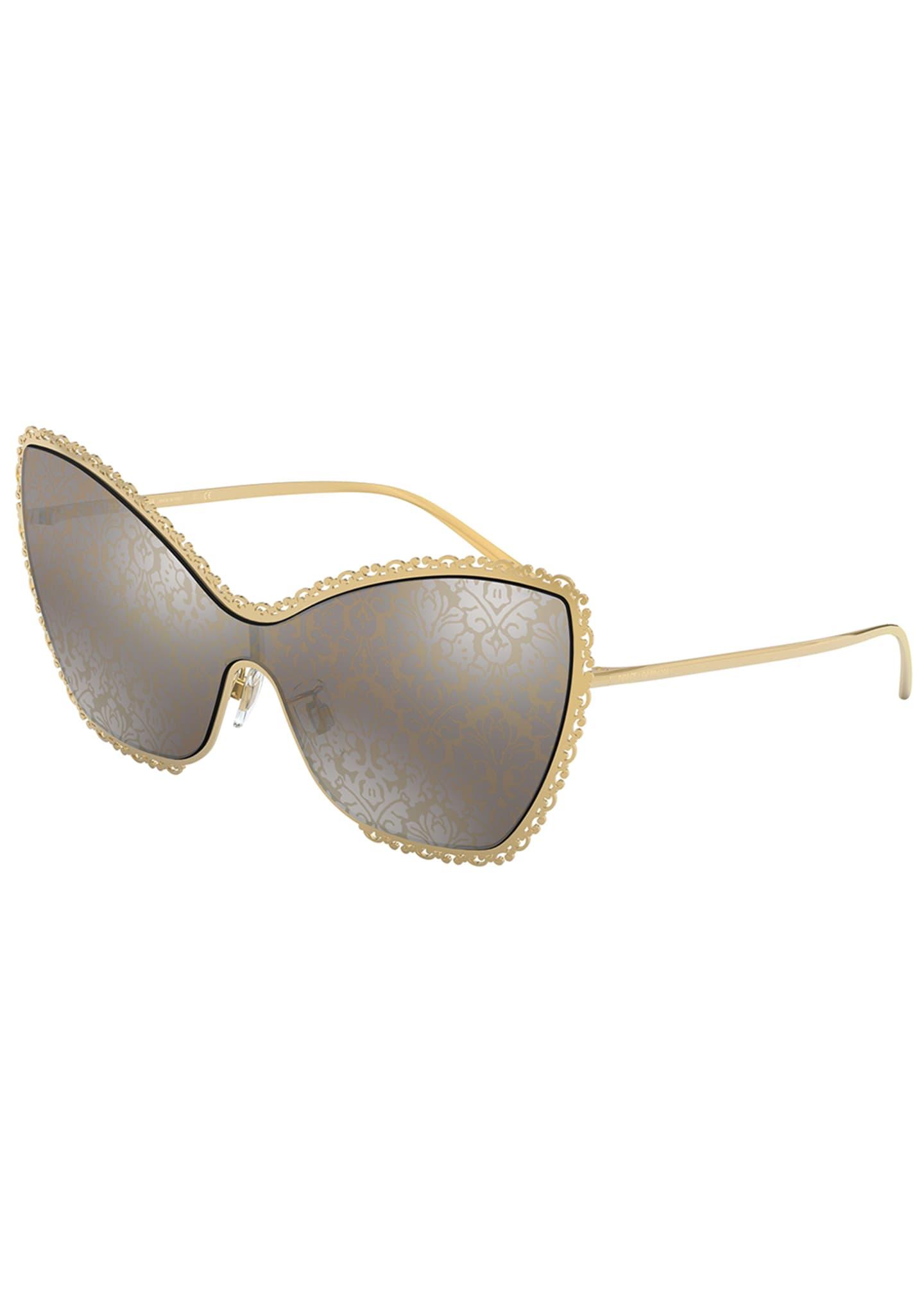 Dolce & Gabbana Damask Print Cat-Eye Shield Sunglasses