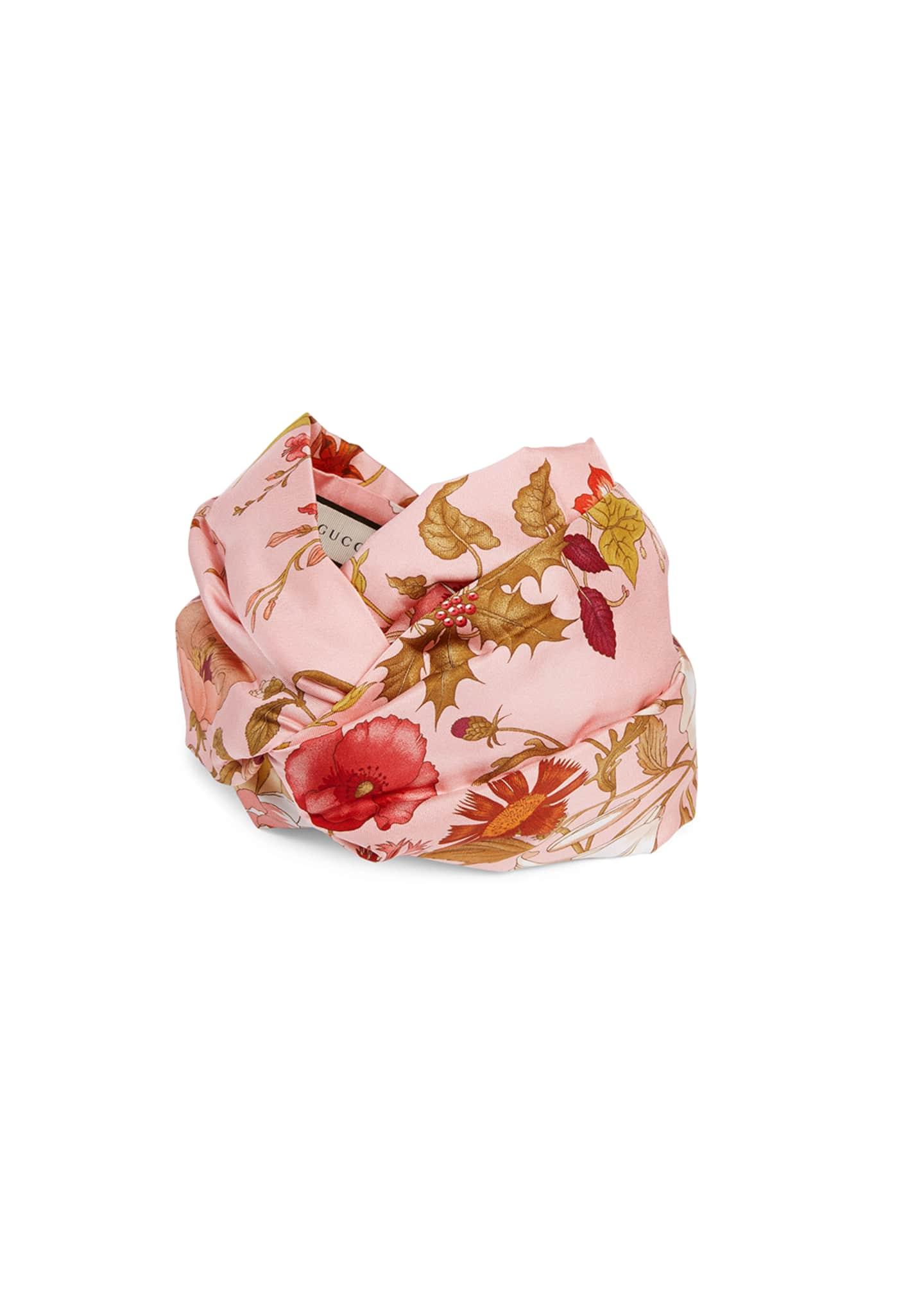 Gucci Floral Print Padded Silk Headband