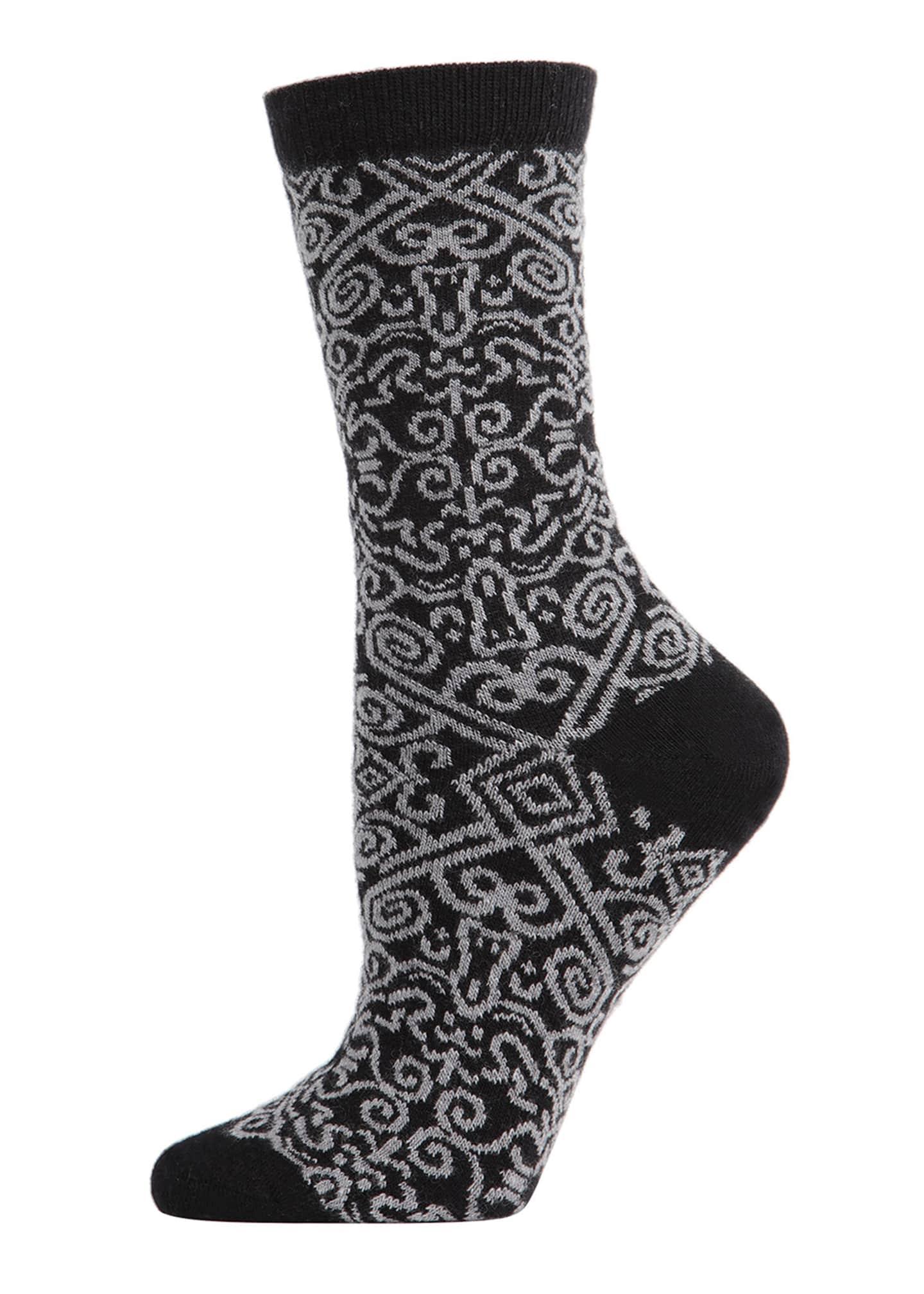 Natori 2-Pack Textile & Fretwork Crew Socks