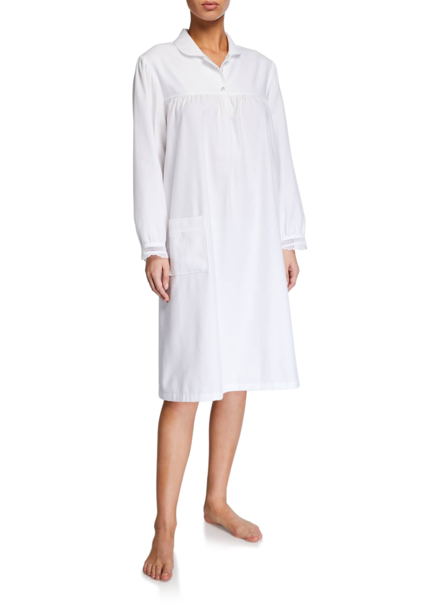 Celestine Sara Long-Sleeve Collared Nightgown