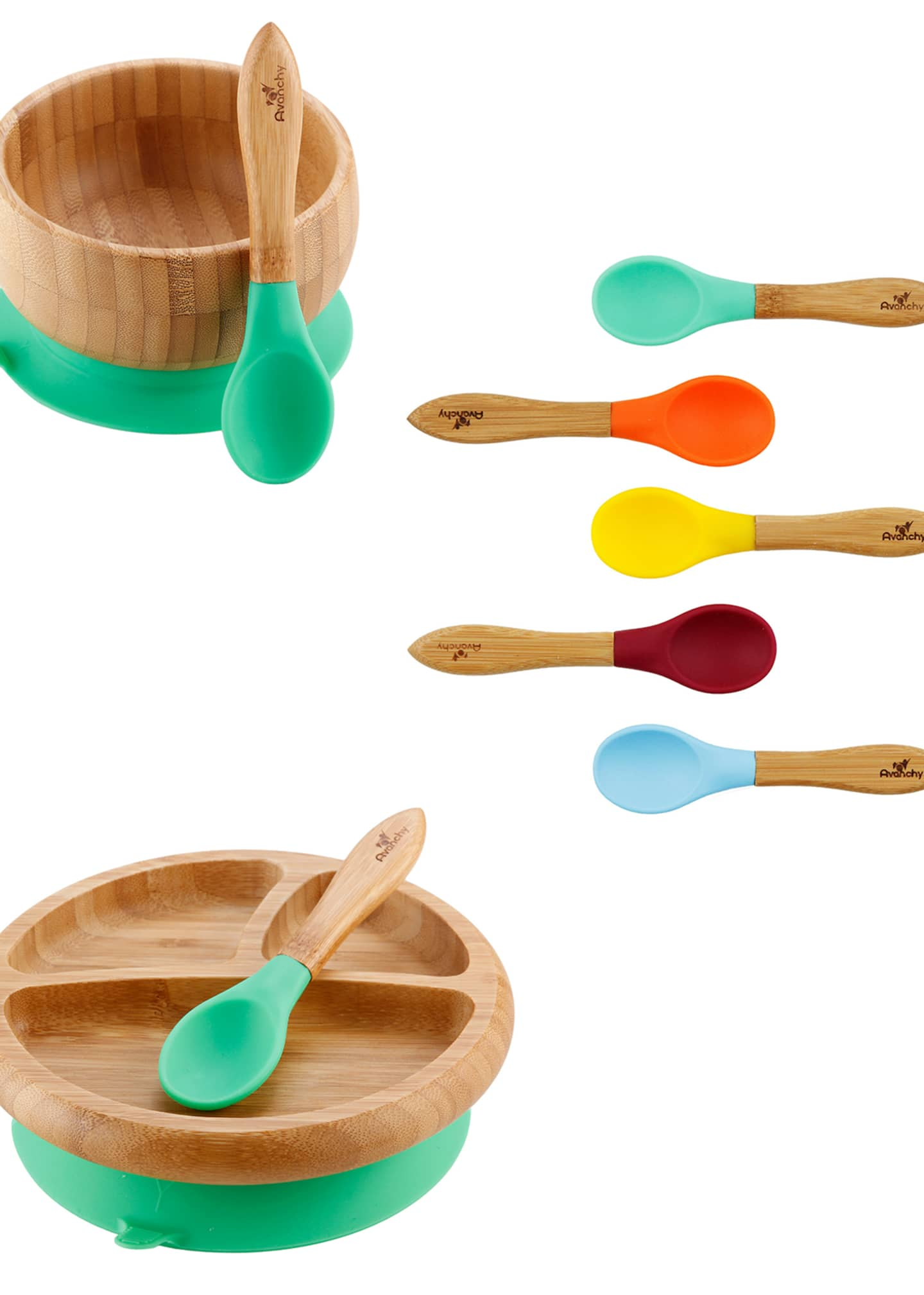 Image 1 of 2: Baby's Bamboo Suction Bowl, Plate & Spoon Set