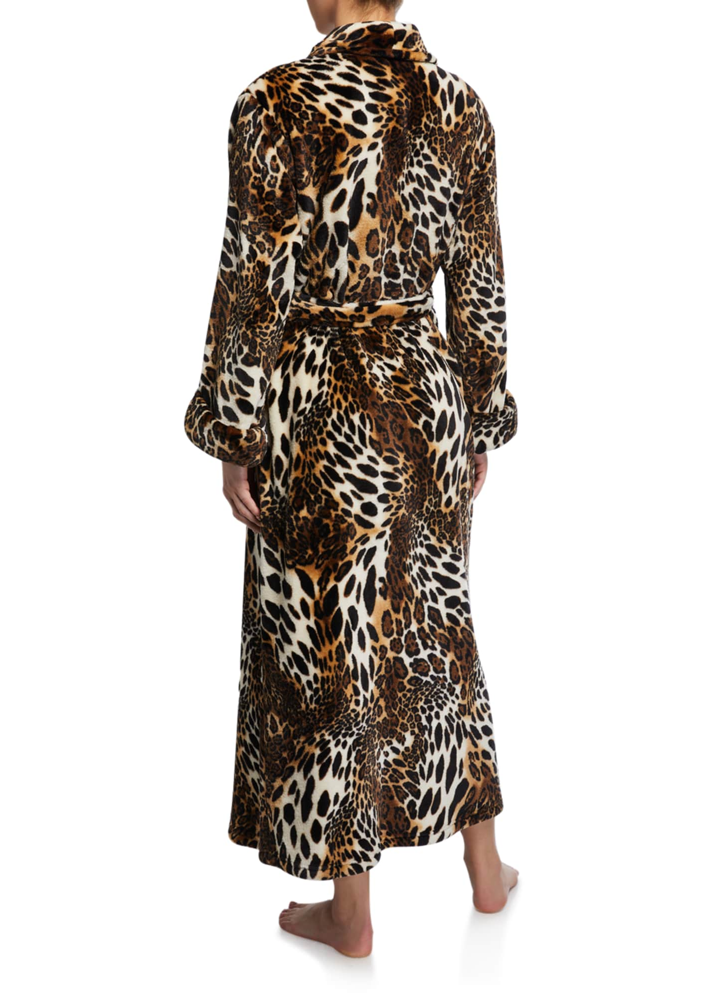 Image 2 of 2: Leopard-Print Faux Fur Long Robe