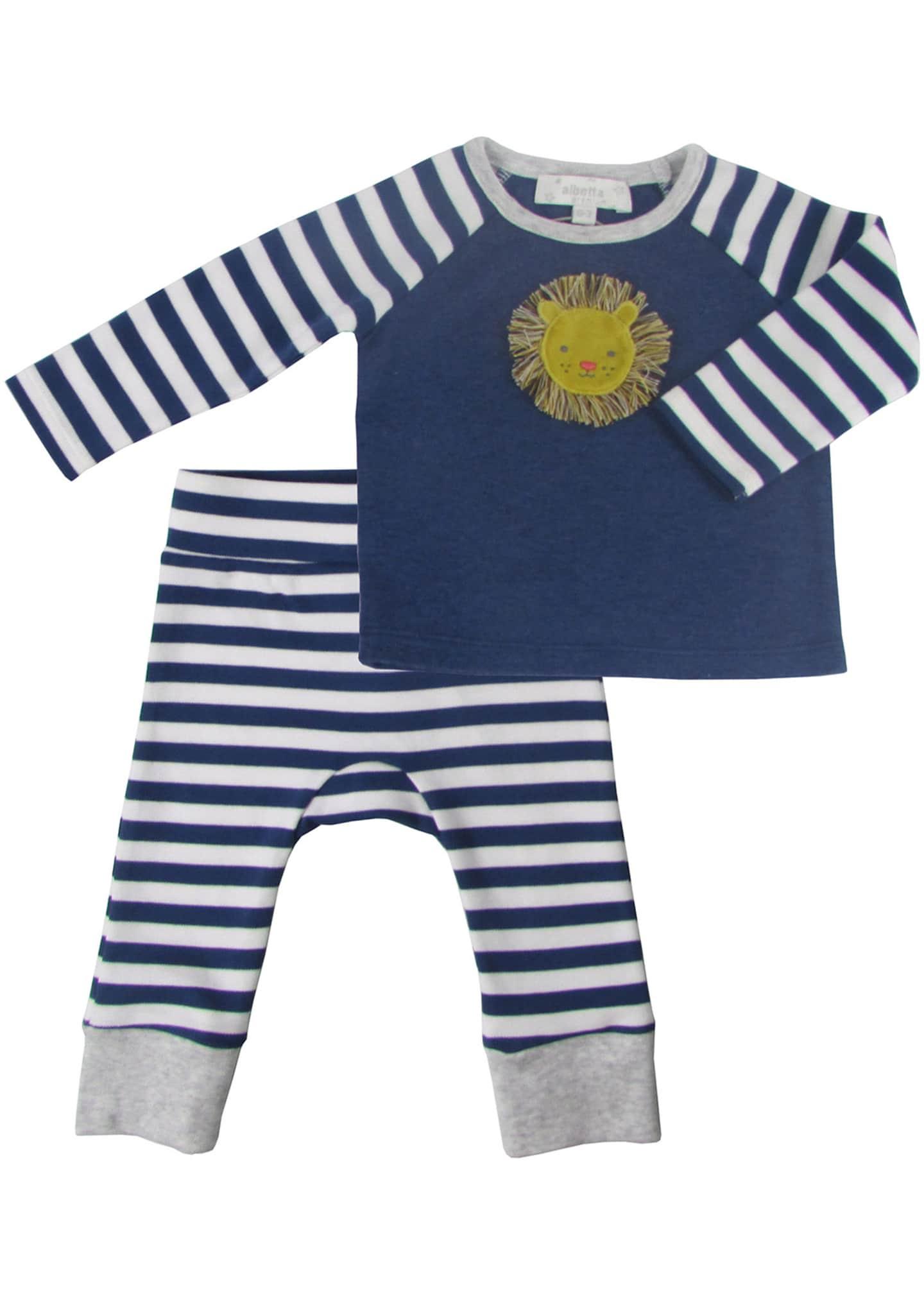 Albetta Velvet Lion Applique Top w/ Striped Pants,