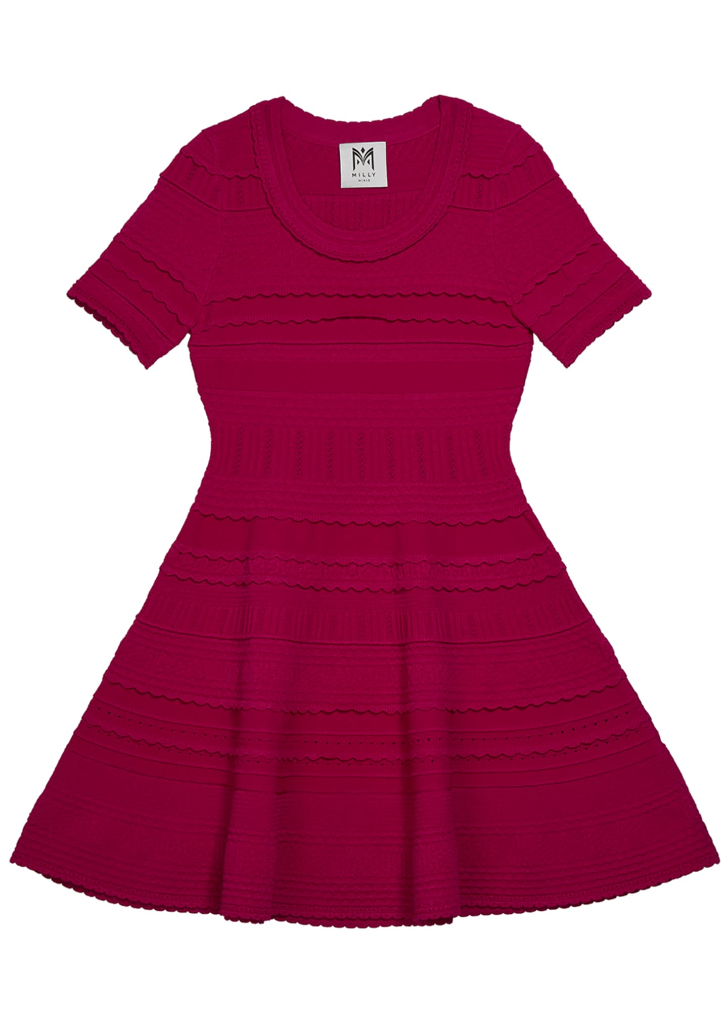 Image 1 of 1: Girl's Textured Tech Flare Dress, Size 7-16
