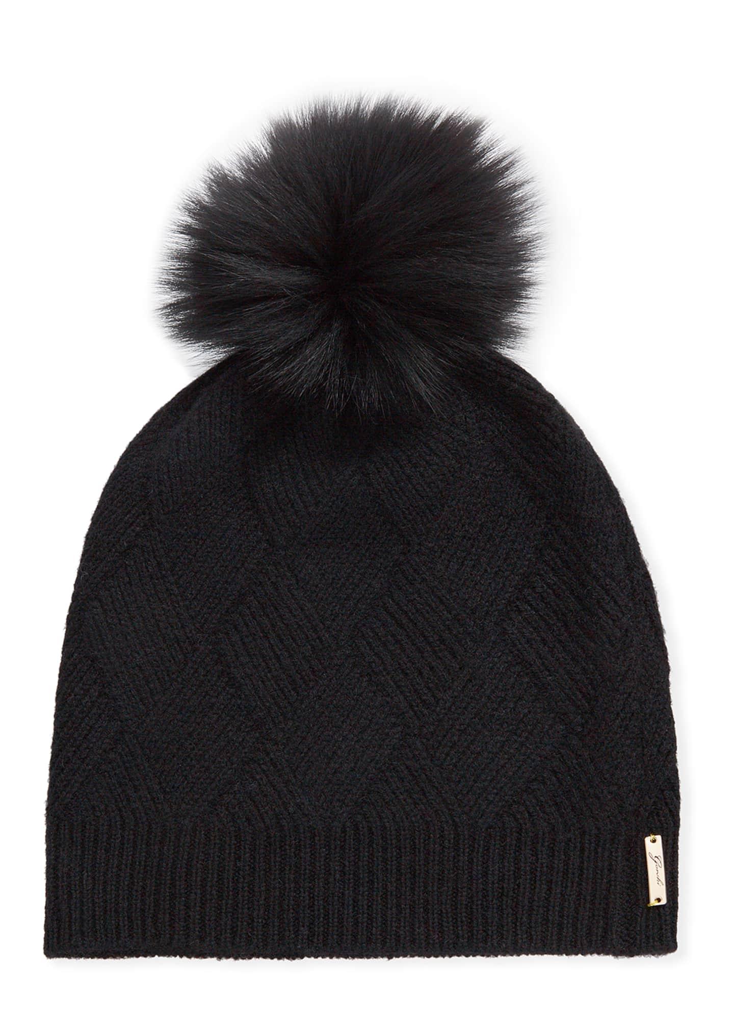 Gorski Diamond Knit Cashmere Beanie Hat w/ Fur