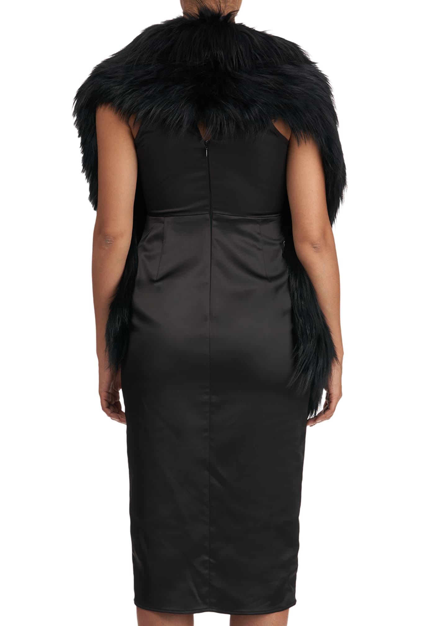 Image 2 of 4: S-Cut Fox Fur Ruffle Pocket Stole