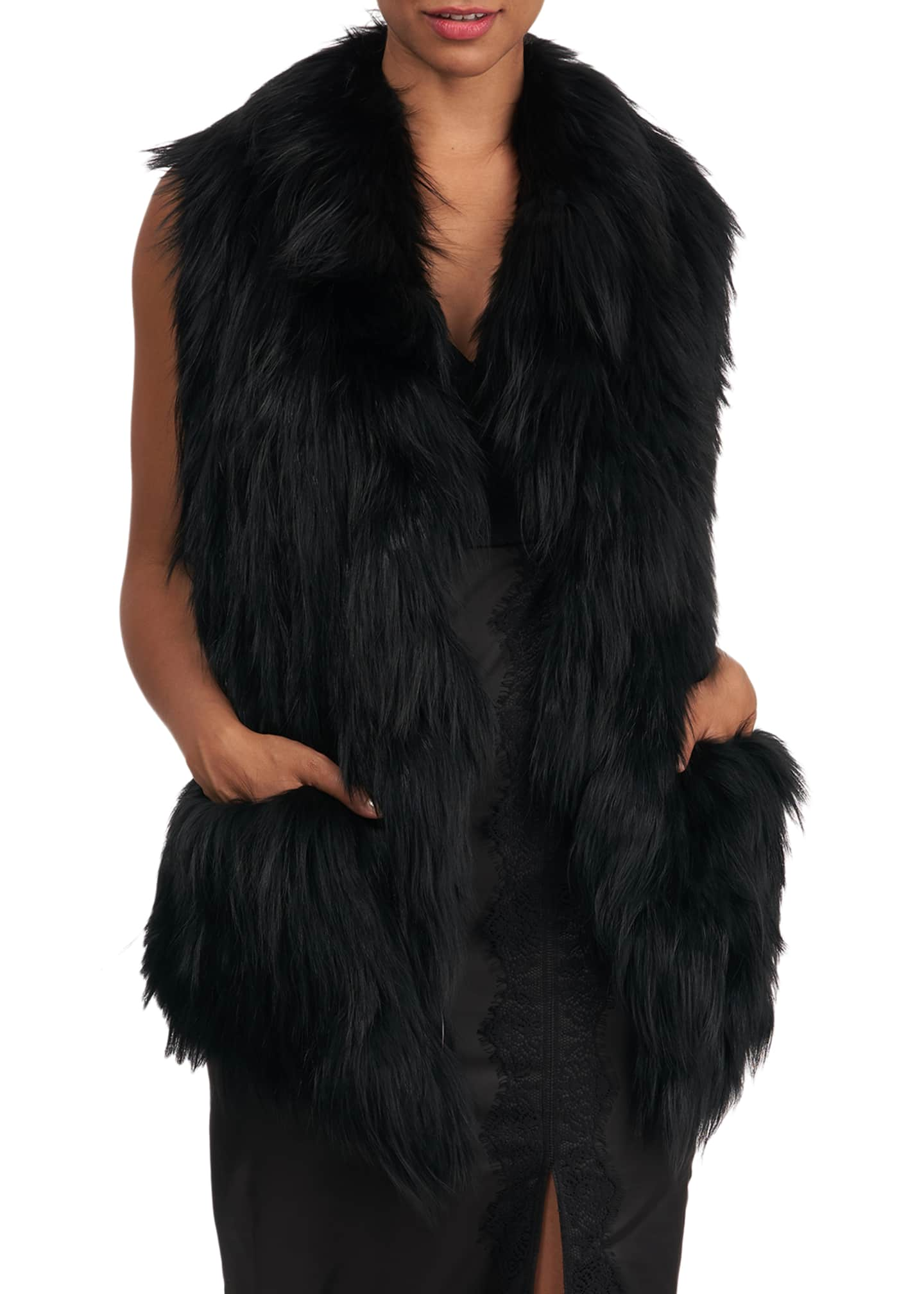 Image 3 of 4: S-Cut Fox Fur Ruffle Pocket Stole
