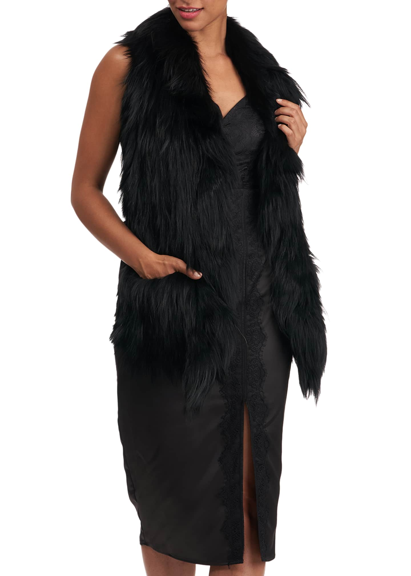 Image 4 of 4: S-Cut Fox Fur Ruffle Pocket Stole