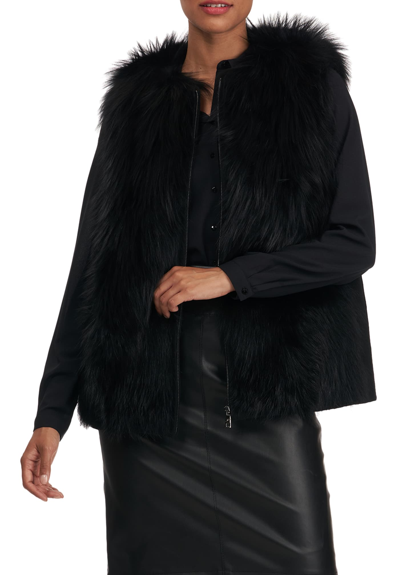 Image 3 of 5: Fox Fur Wool Back Vest