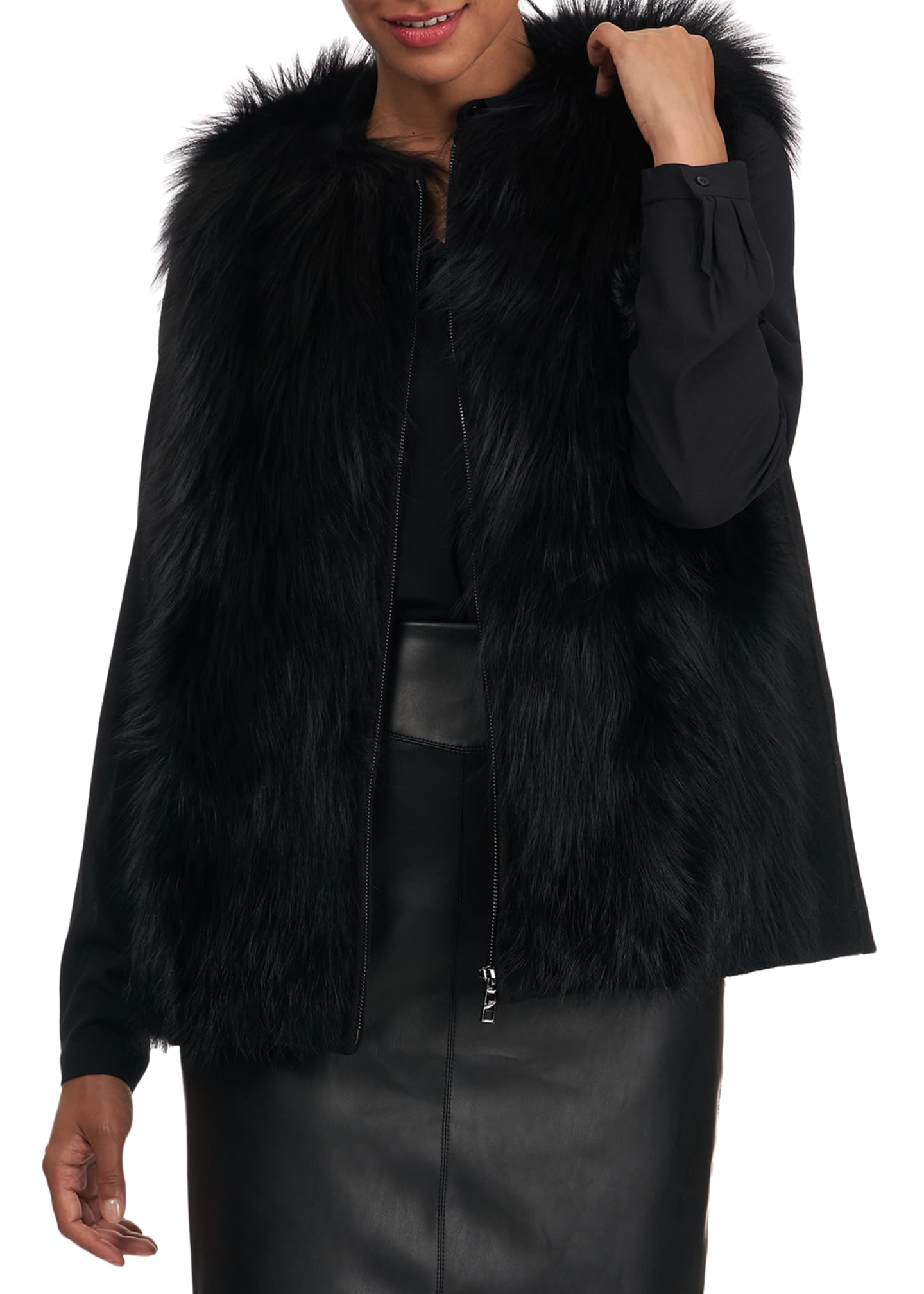 Image 4 of 5: Fox Fur Wool Back Vest