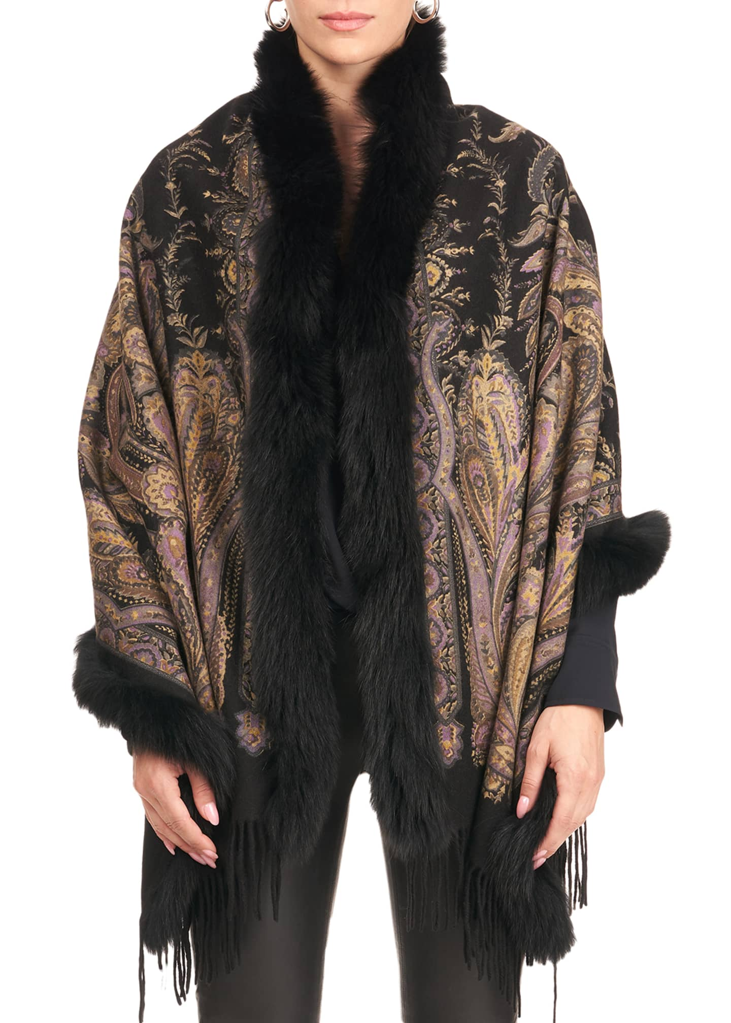 Gorski Paisley Print Cashmere Stole w/ Fox Fur
