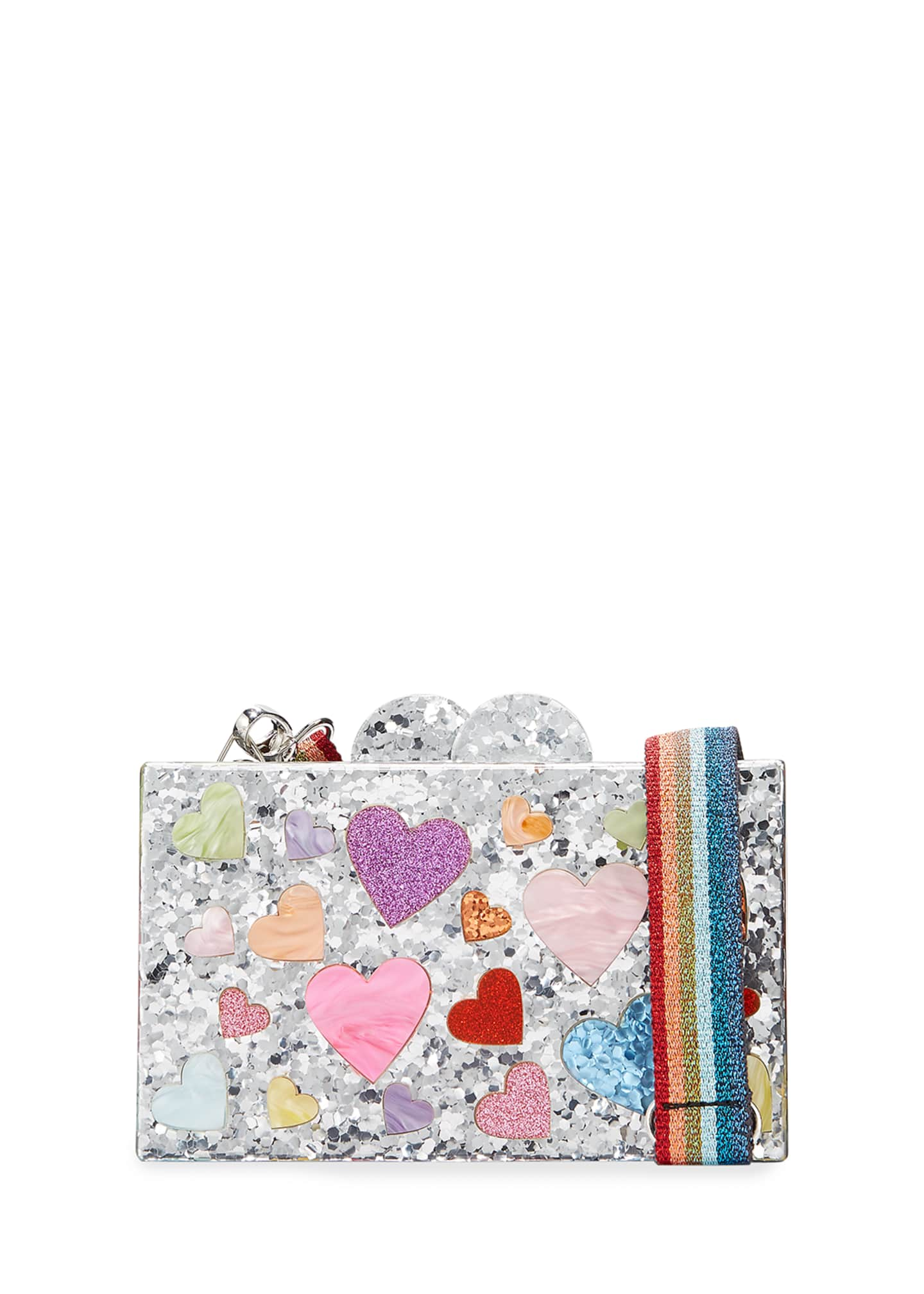 Bari Lynn Girl's Scattered Rainbow Hearts Acrylic Clutch