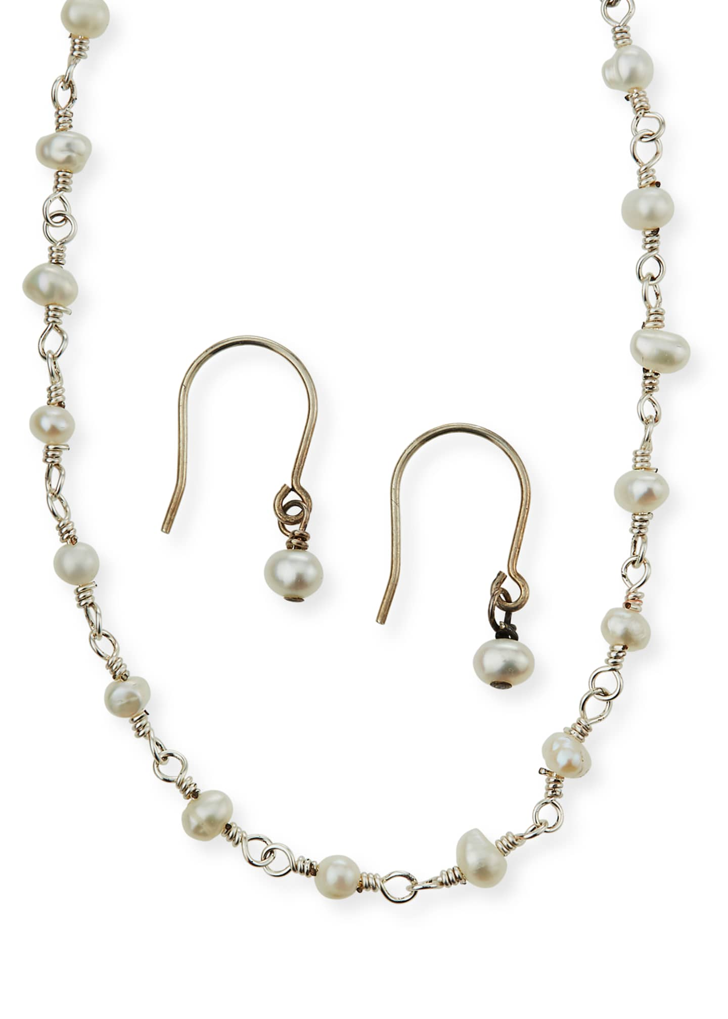 Helena Girl's Pearl Sterling Wire Necklace w/ Matching