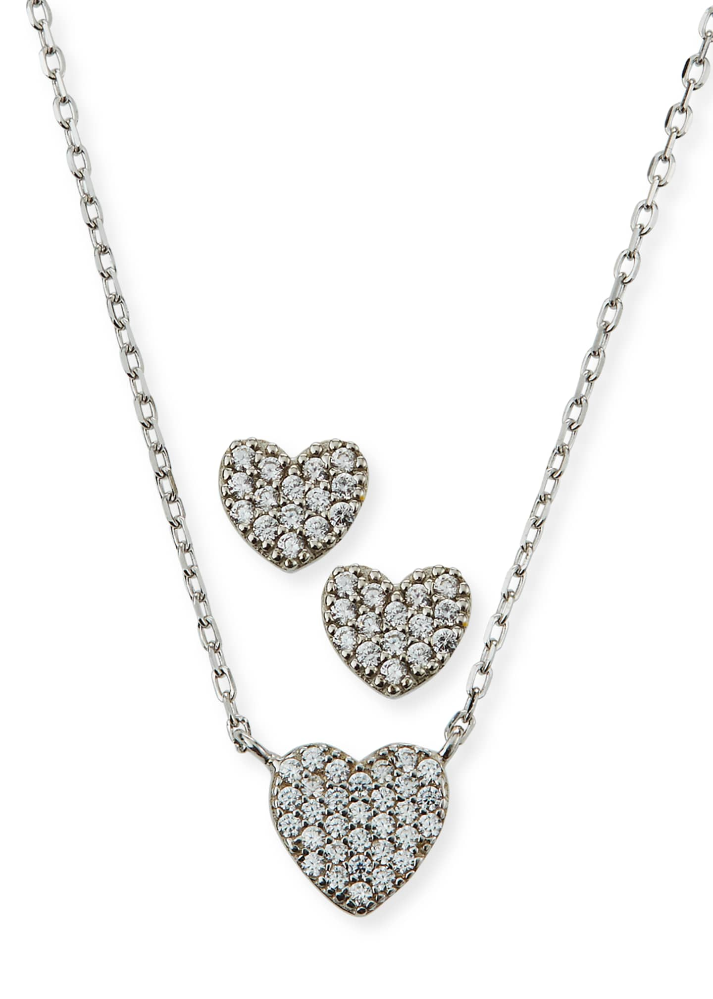 Helena Girl's Pave Heart Necklace w/ Matching Stud