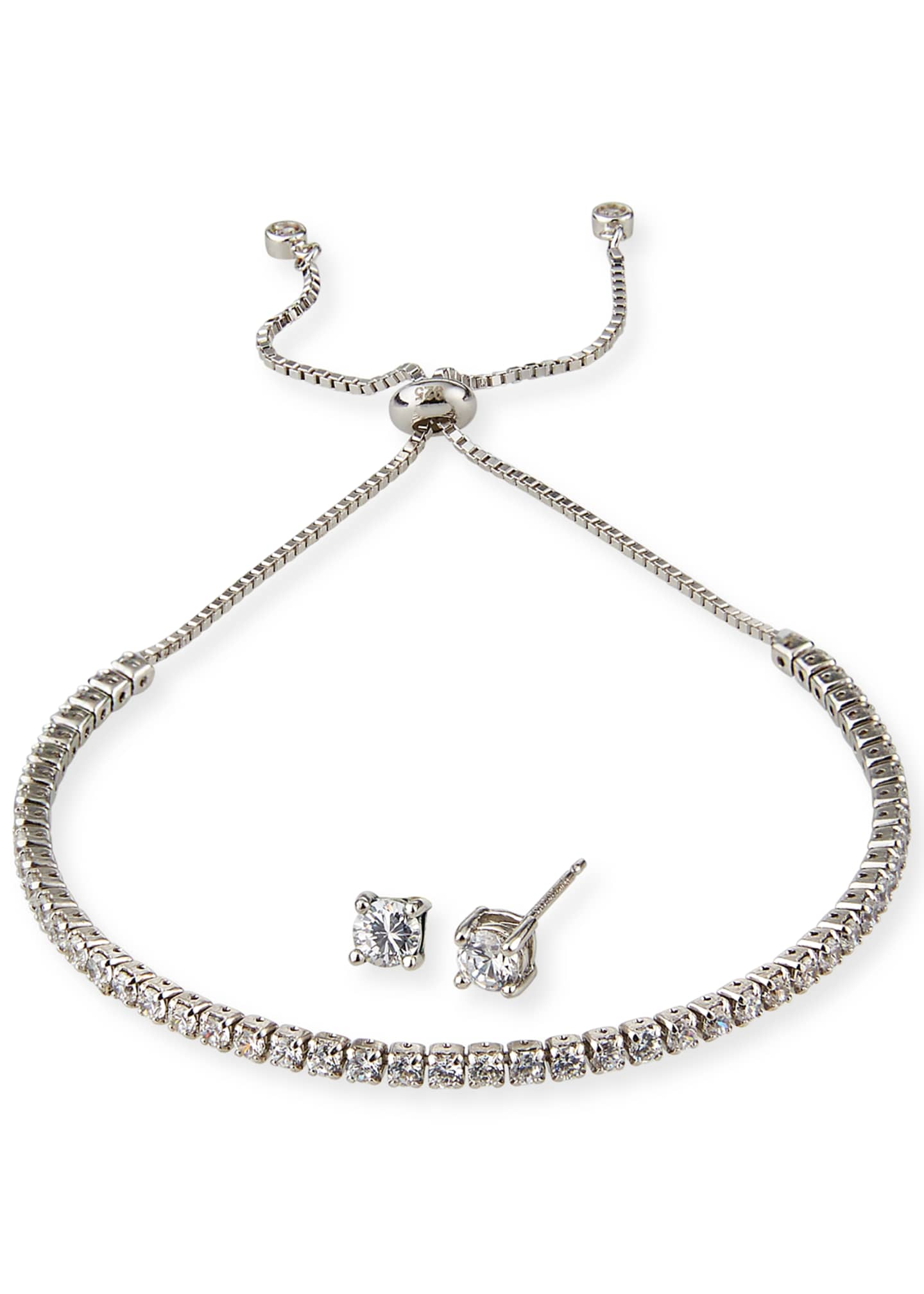 Image 1 of 2: Girl's Sterling Silver Cubic Zirconia Adjustable Bracelet w/ Matching Stud Earrings Set