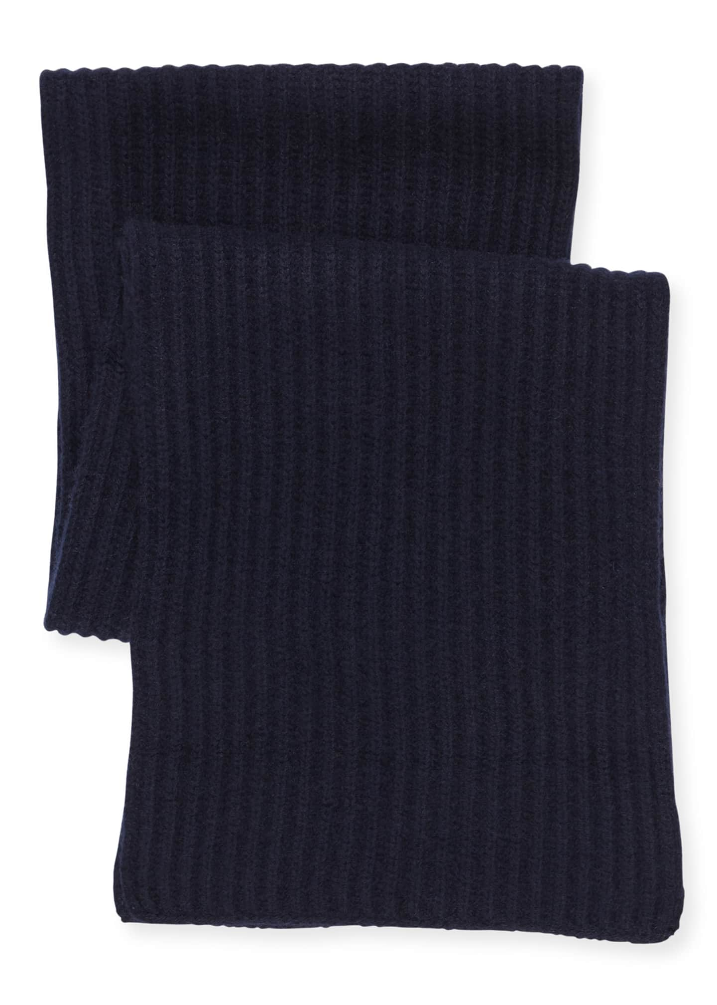 Image 2 of 3: Ribbed Cashmere Scarf, Navy