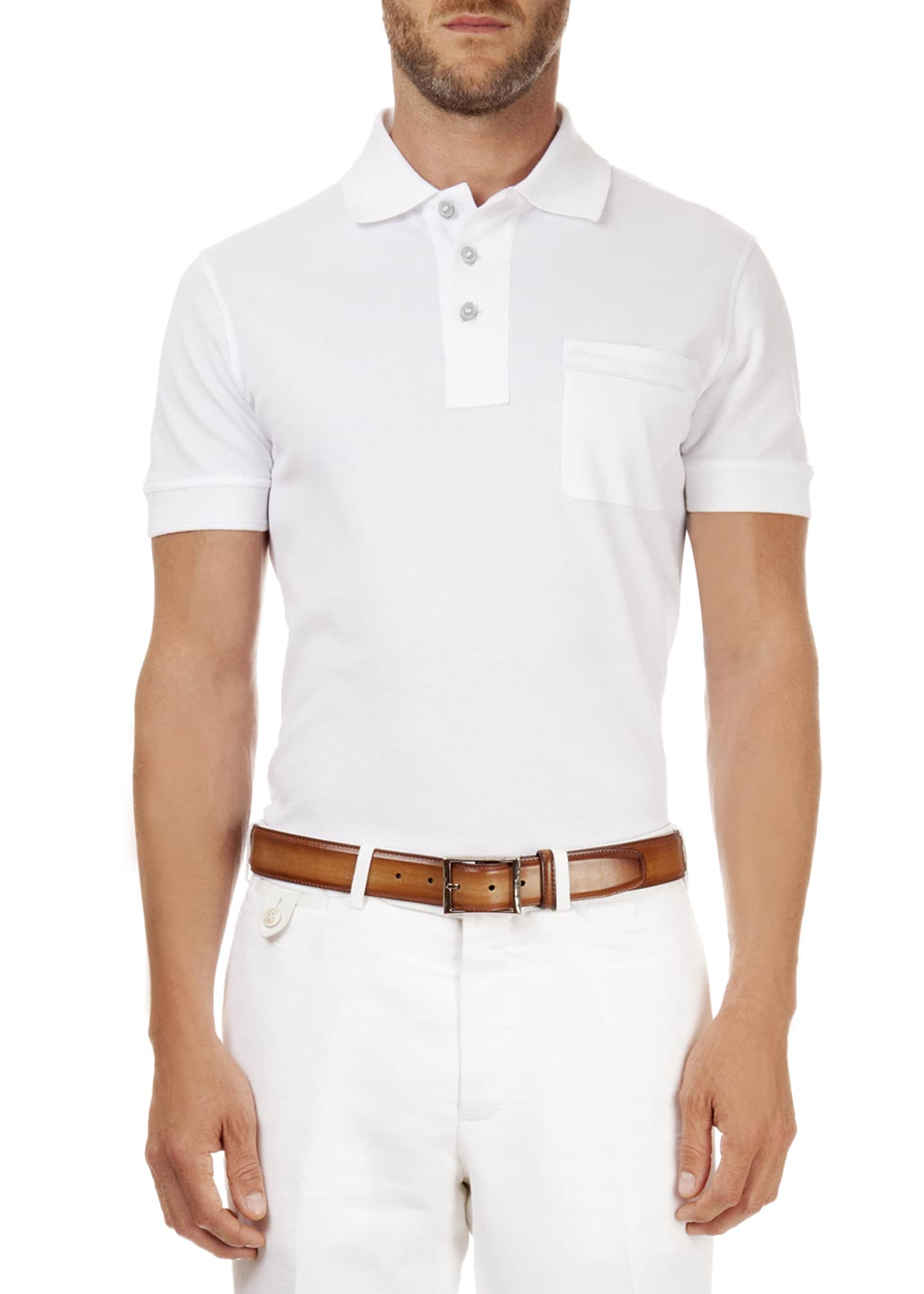 Berluti Polo with Leather Detail, White