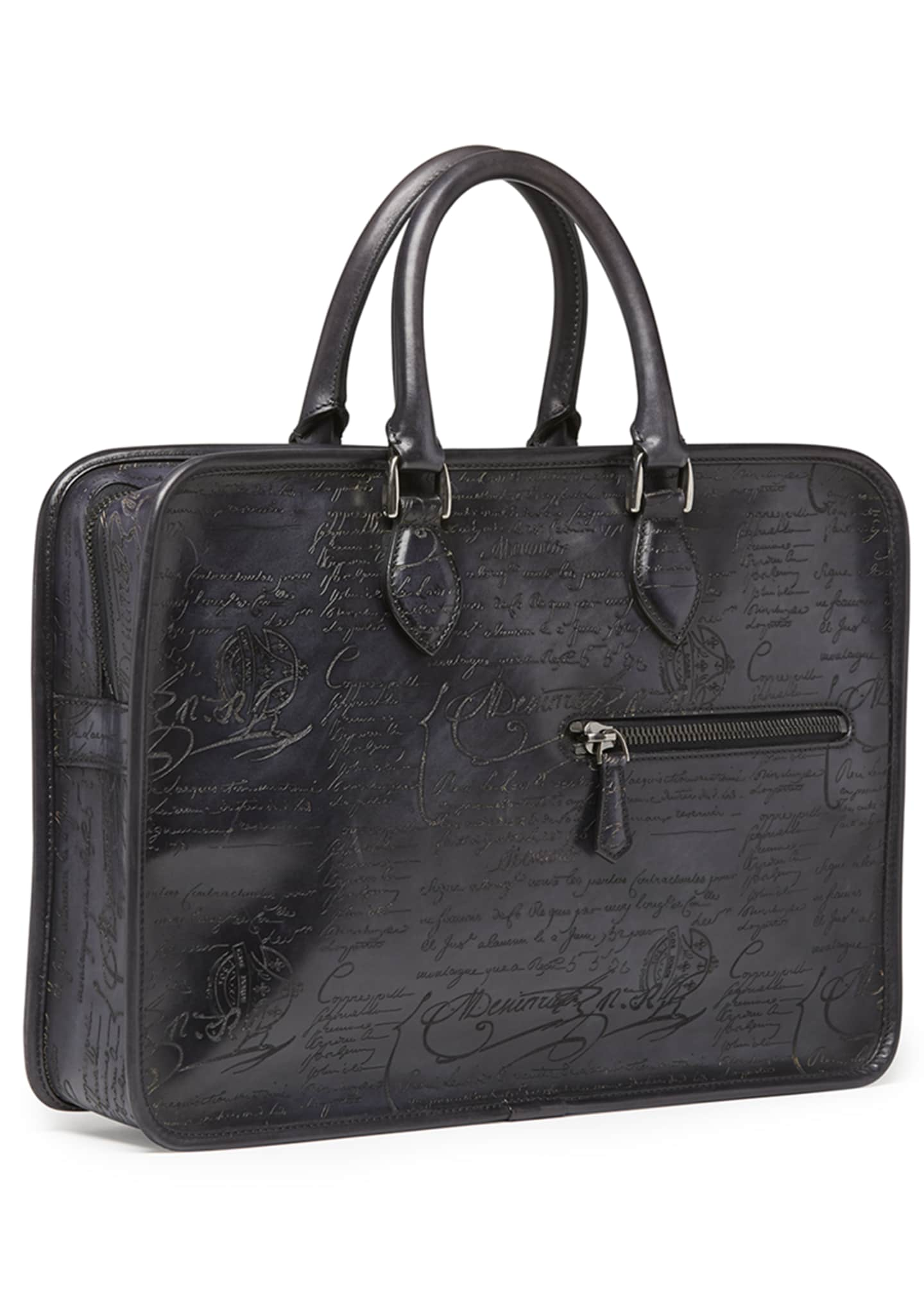 Image 2 of 3: Scritto Leather Briefcase, Black