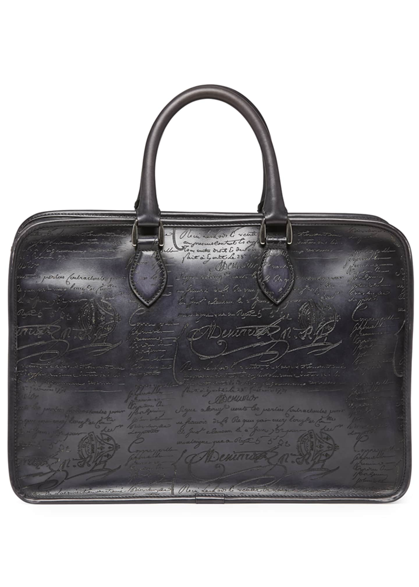 Image 3 of 3: Scritto Leather Briefcase, Black