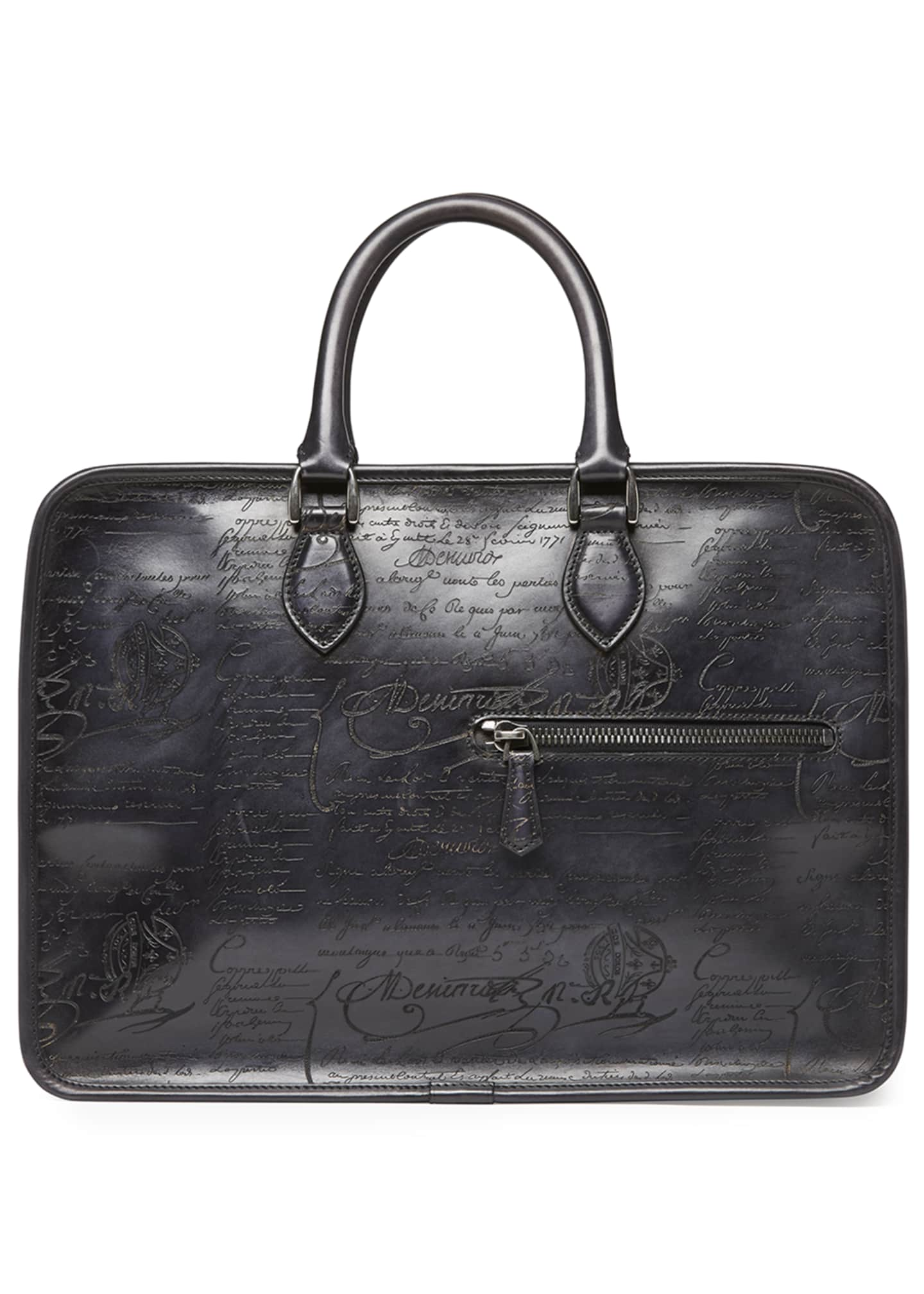 Image 1 of 3: Scritto Leather Briefcase, Black