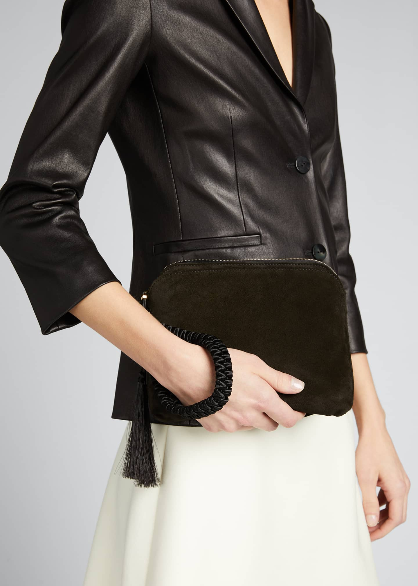 Image 2 of 5: SUEDE WRISTLET CLUTCH W/ TAS