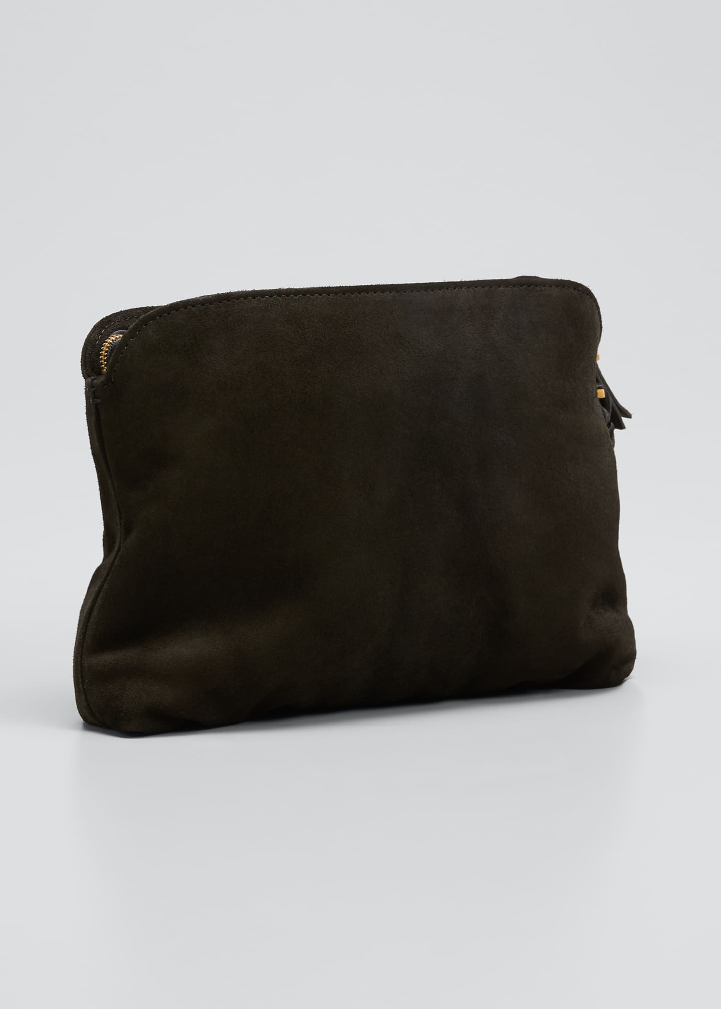 Image 3 of 5: SUEDE WRISTLET CLUTCH W/ TAS
