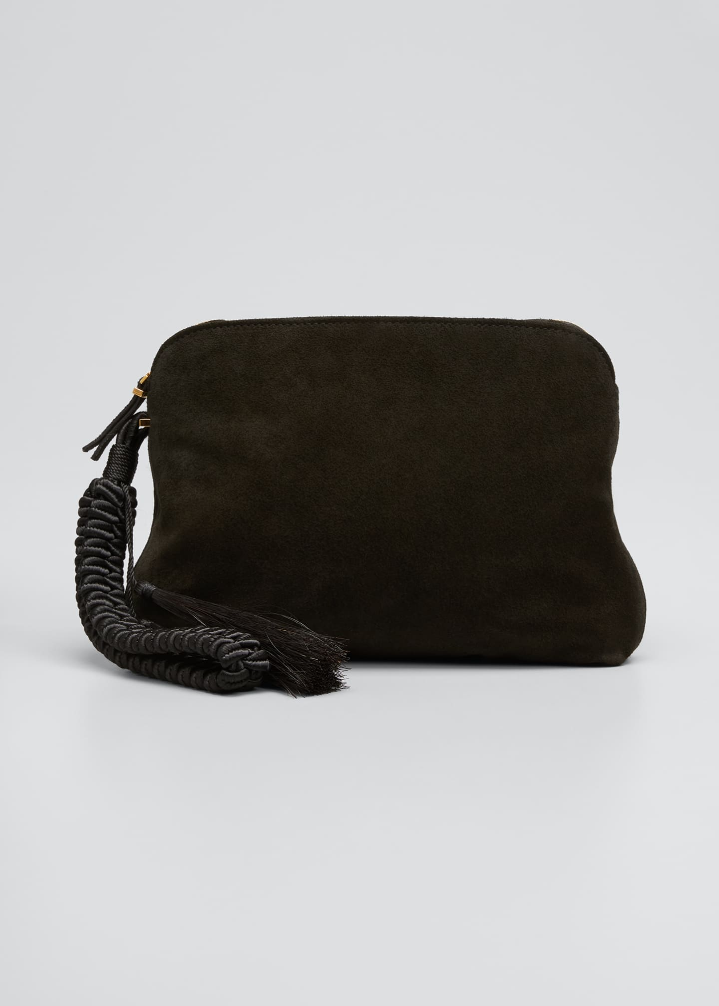 Image 1 of 5: SUEDE WRISTLET CLUTCH W/ TAS
