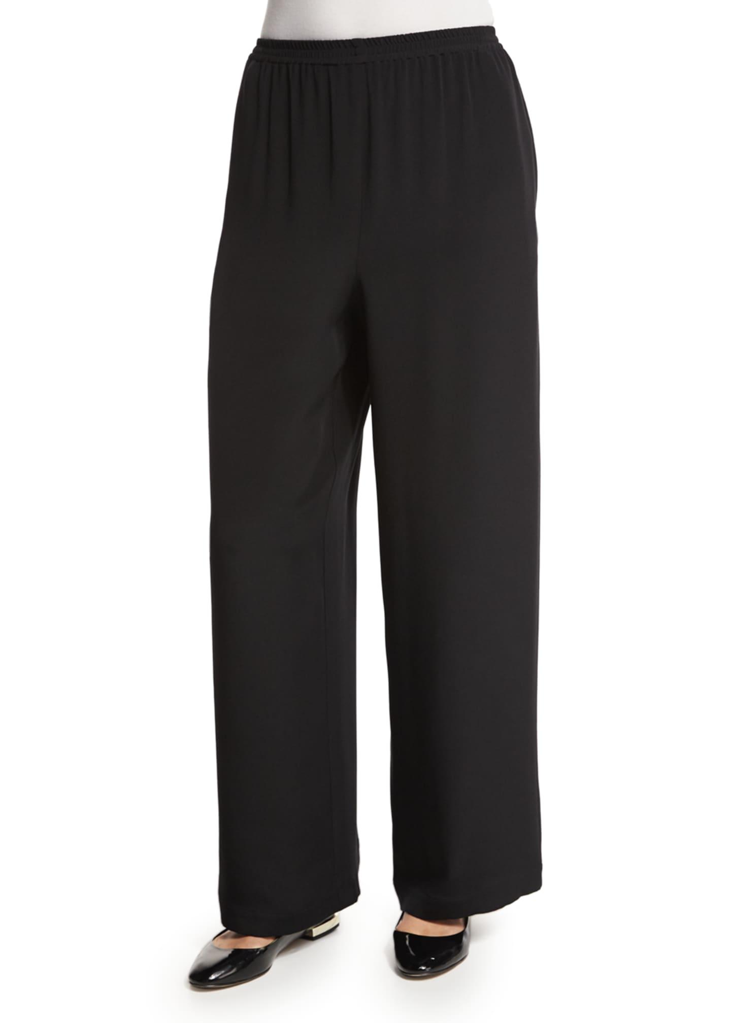 Eskandar Flared Wide-Leg Silk Trousers