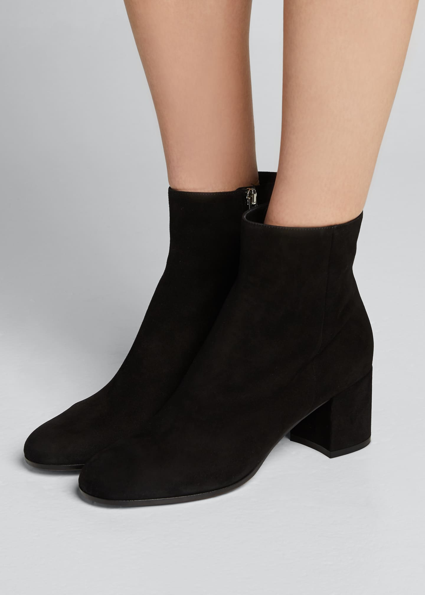 Image 2 of 5: Suede Block-Heel Ankle Boot