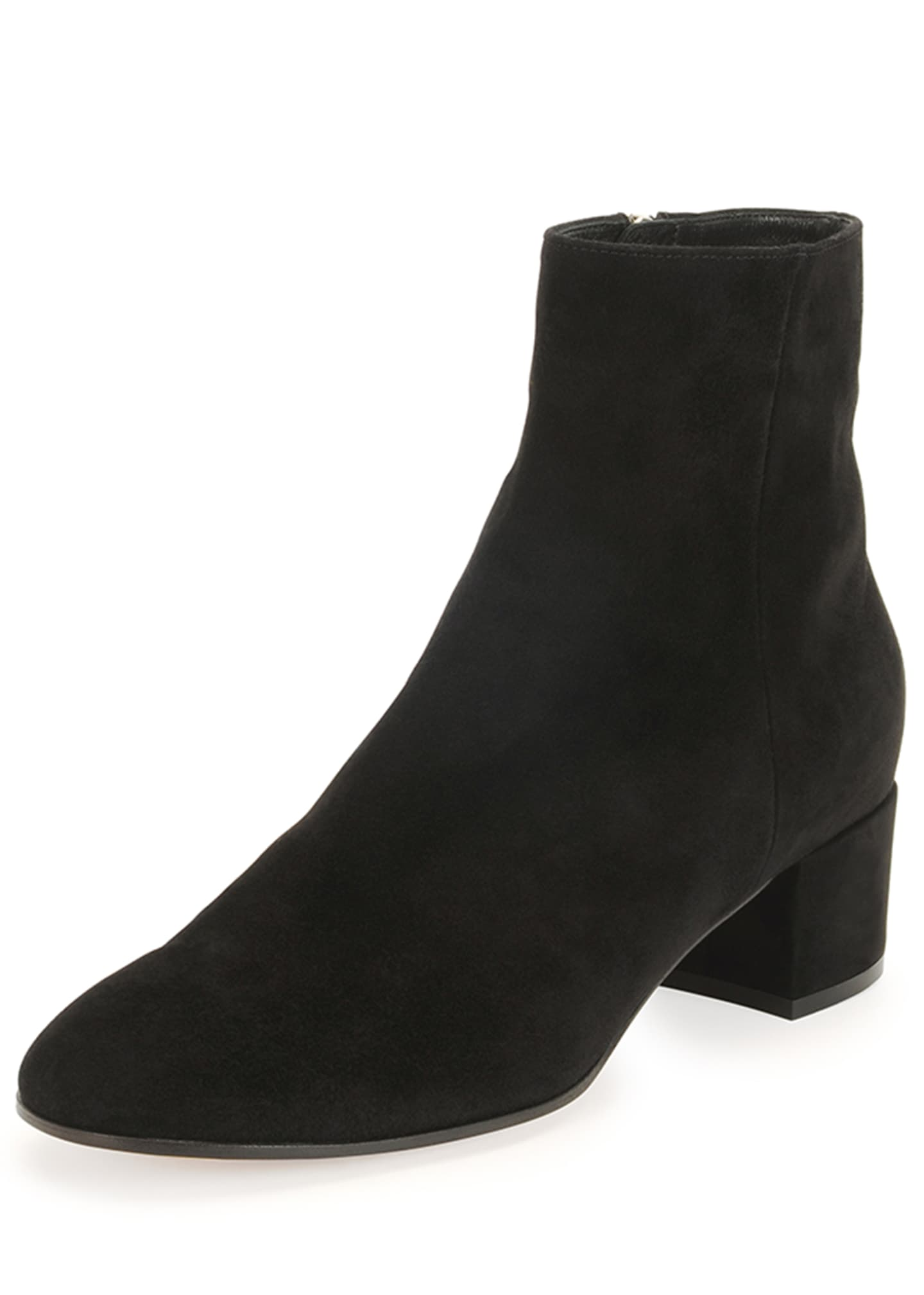 Image 4 of 5: Suede Block-Heel Ankle Boot