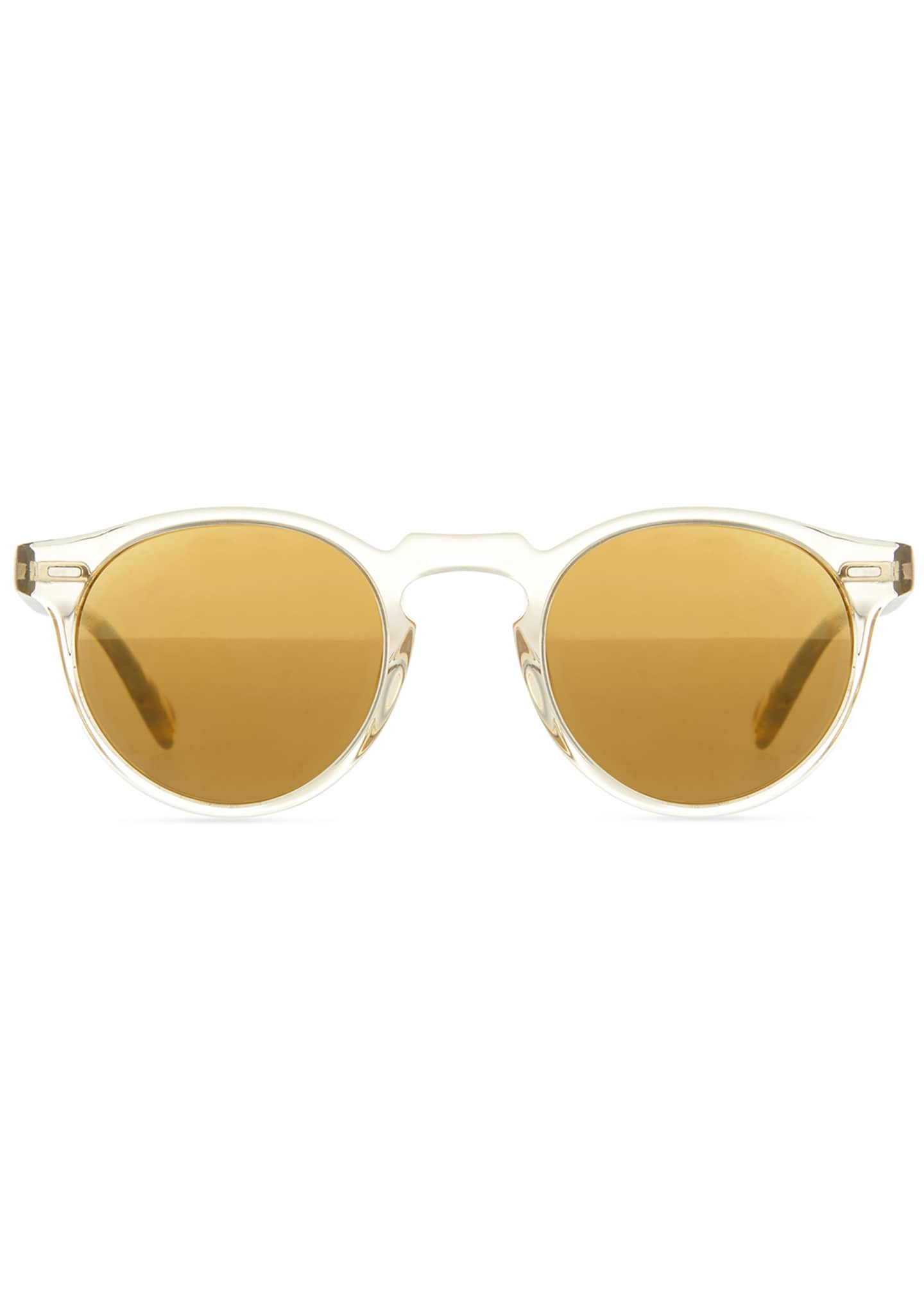 Image 2 of 3: Gregory Peck Round Plastic Sunglasses, Clear/Tortoise
