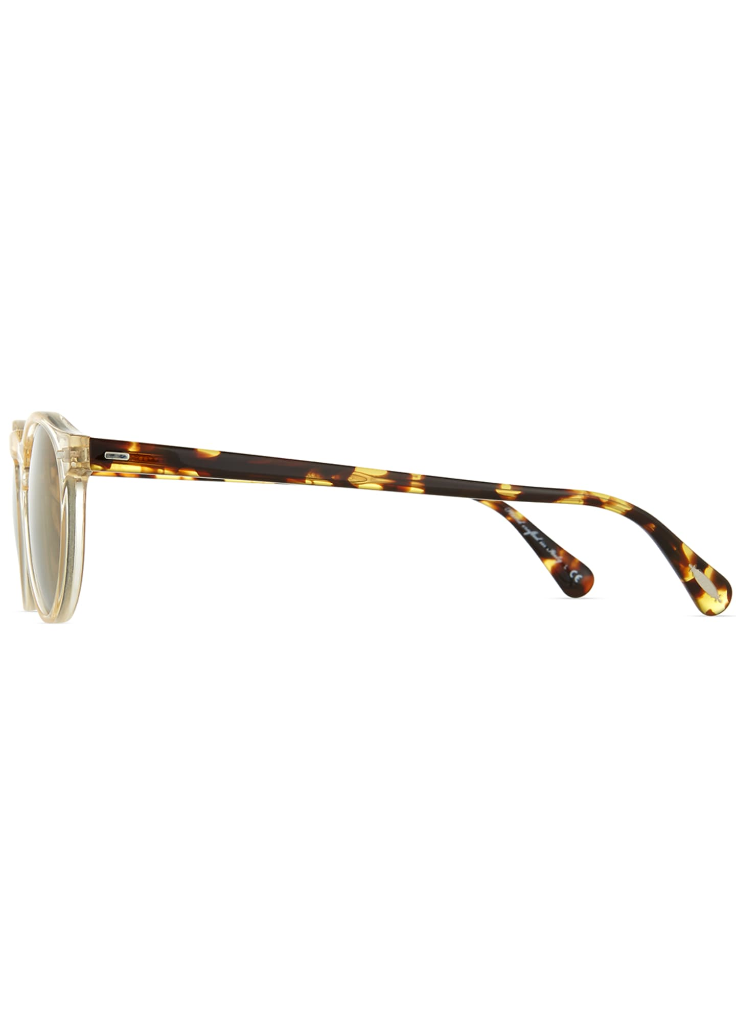 Image 3 of 3: Gregory Peck Round Plastic Sunglasses, Clear/Tortoise