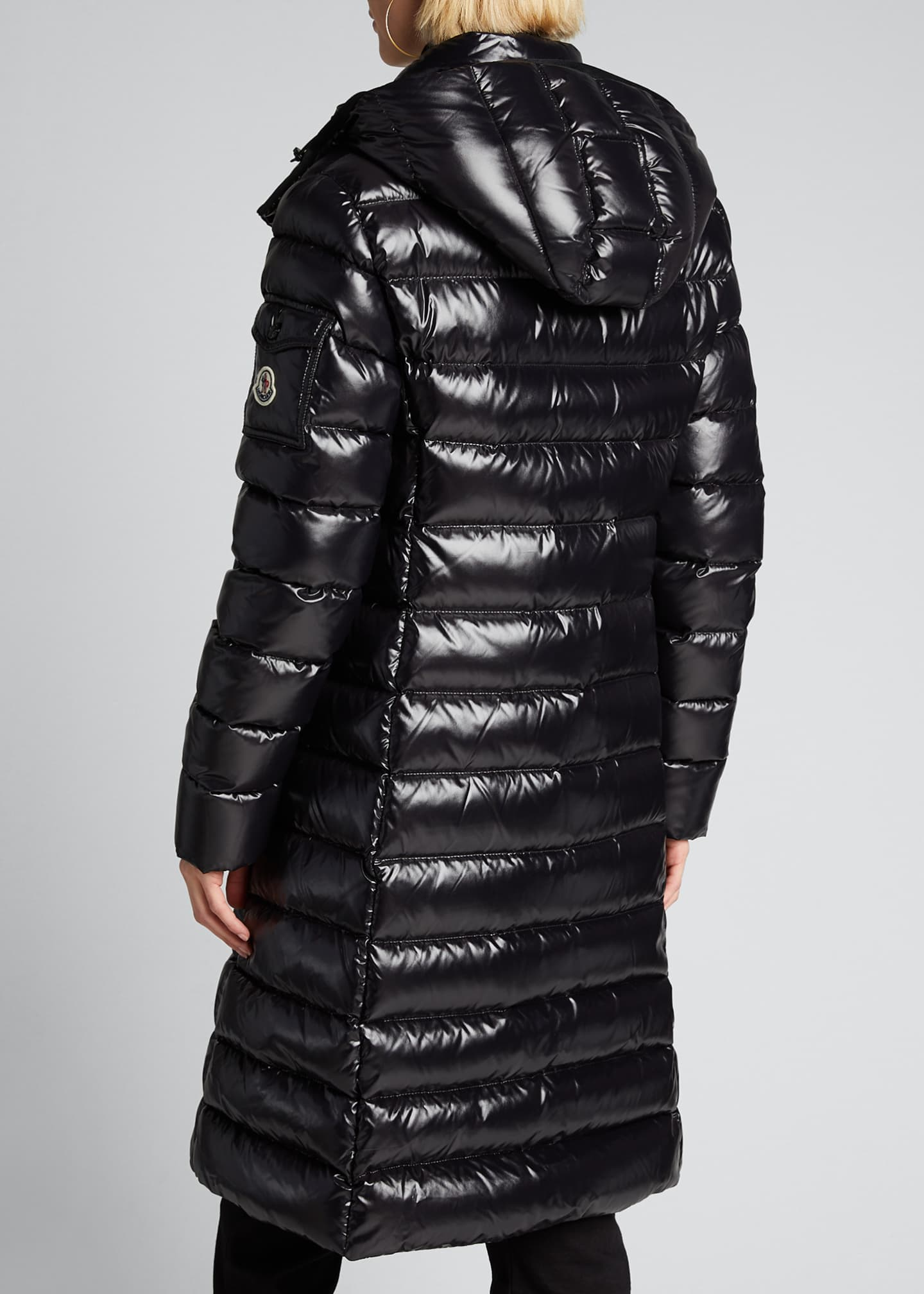 Image 2 of 5: Moka Shiny Fitted Puffer Coat with Hood