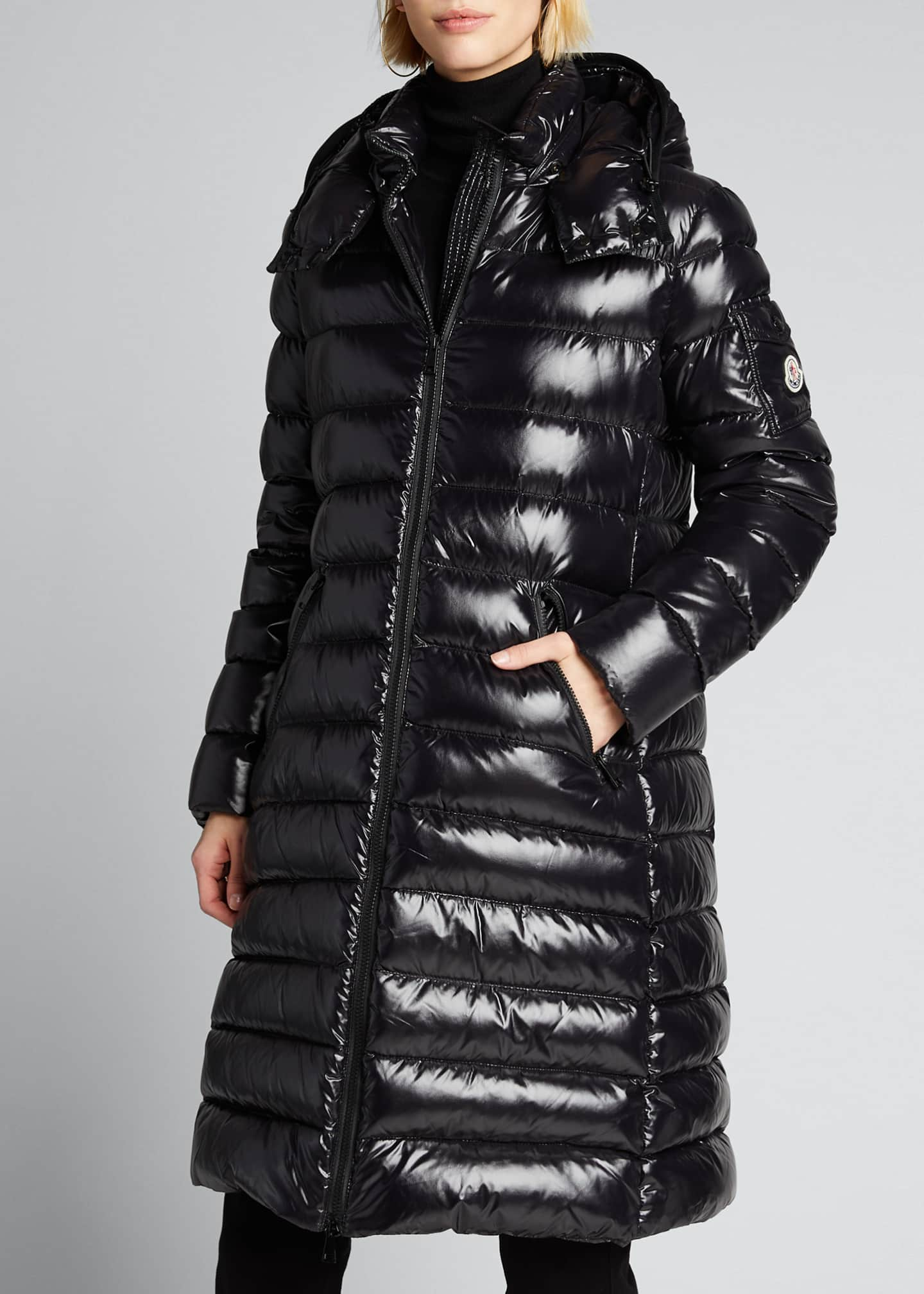 Image 3 of 5: Moka Shiny Fitted Puffer Coat with Hood