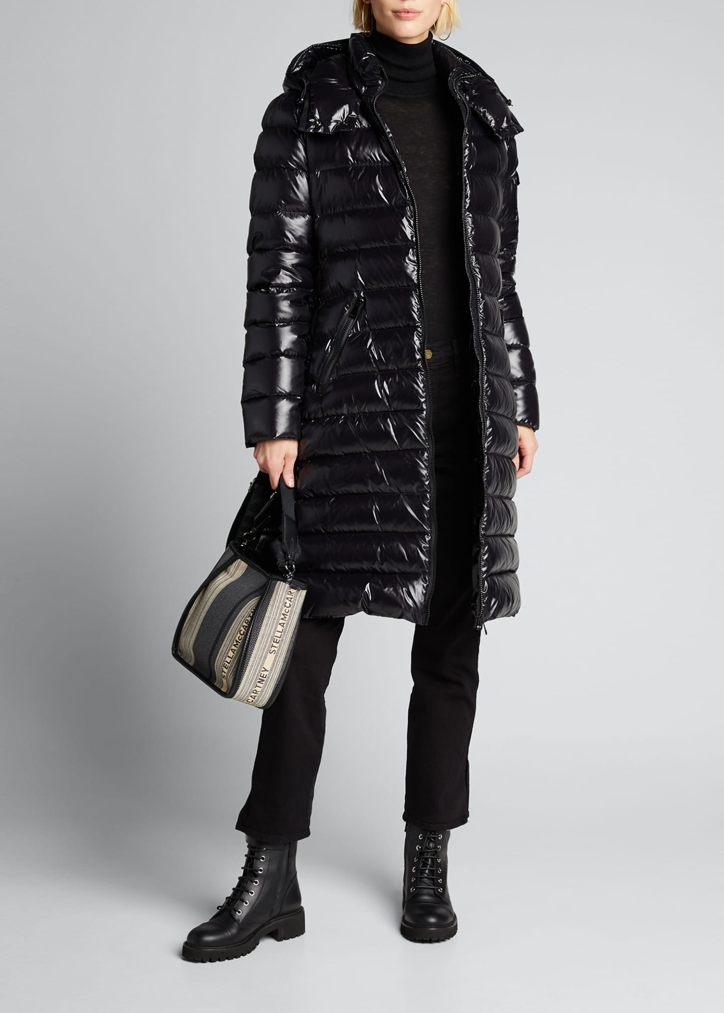 Image 1 of 5: Moka Shiny Fitted Puffer Coat with Hood