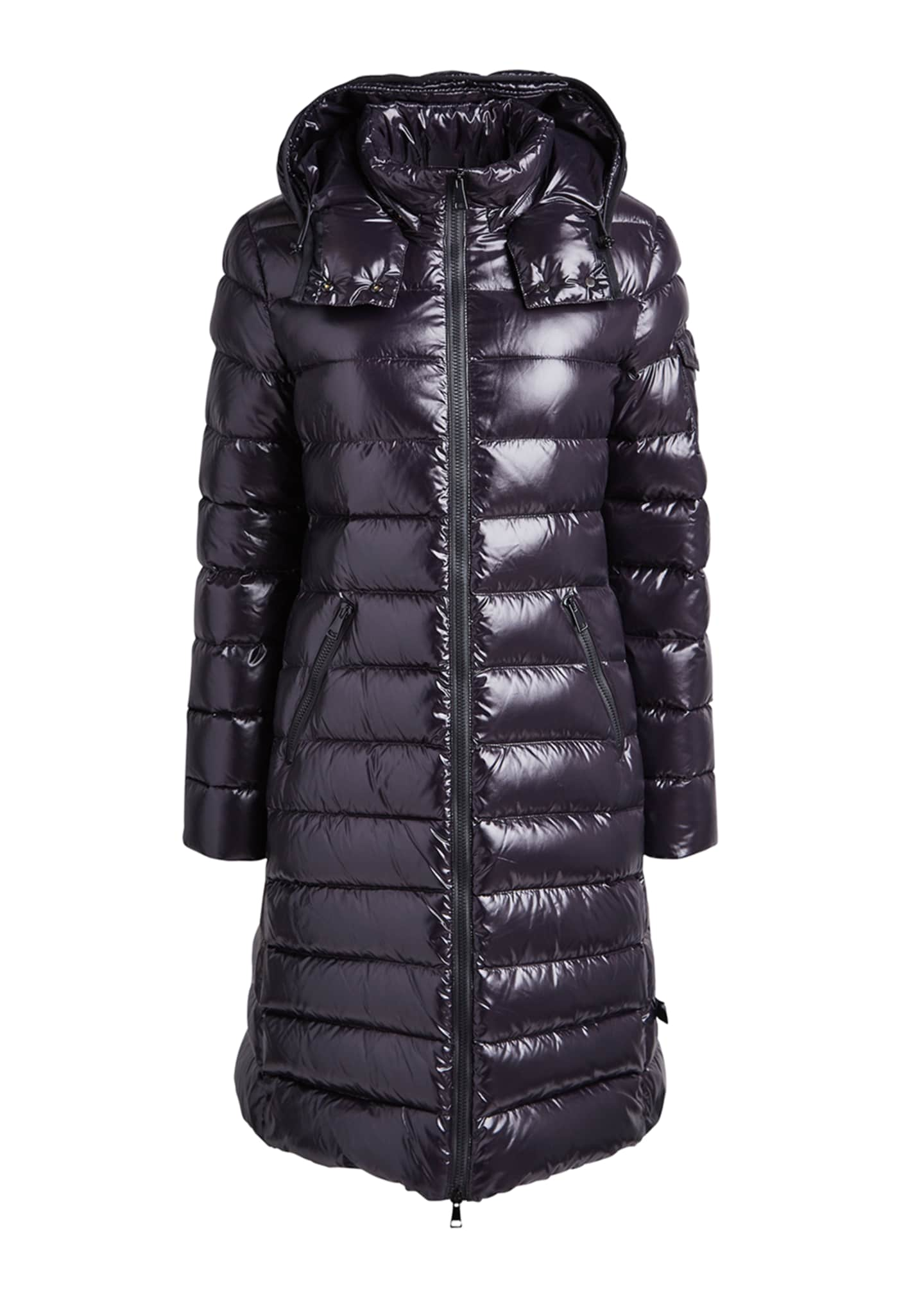 Image 5 of 5: Moka Shiny Fitted Puffer Coat with Hood