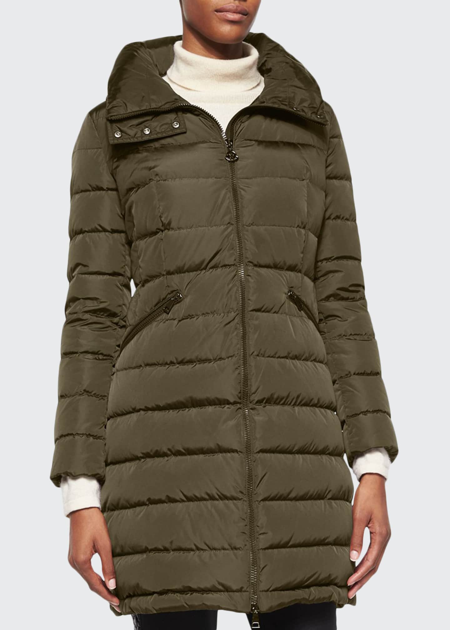 Moncler Flammette Stripe-Quilted Mid-Length Puffer Coat