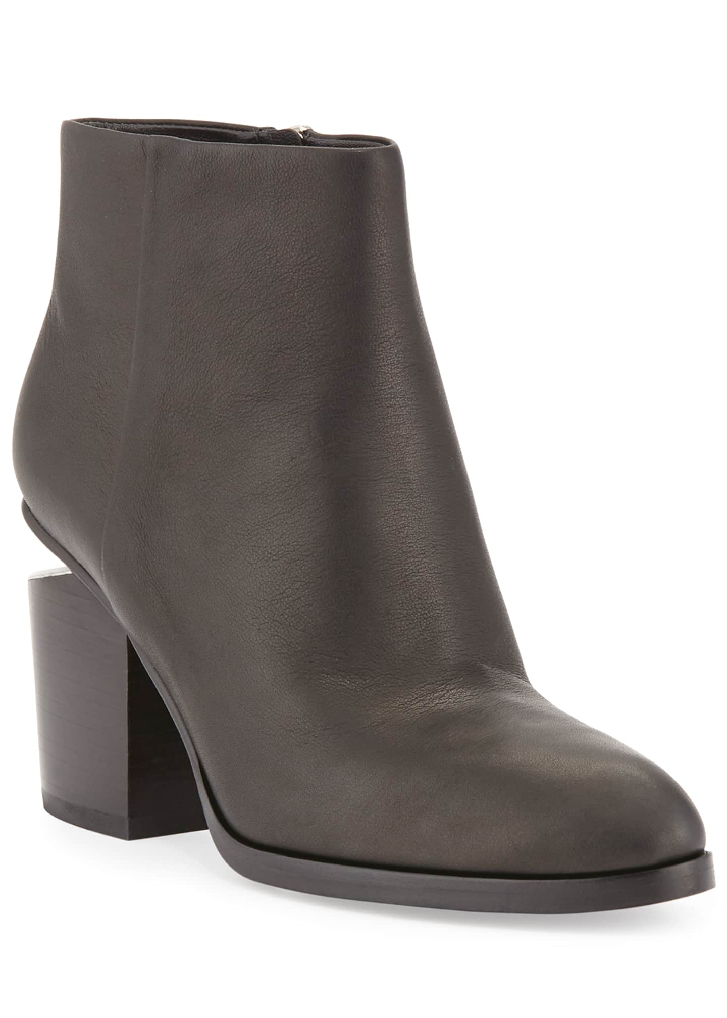 Alexander Wang Gabi Tilt-Heel Leather Boots, Black/Rhodium