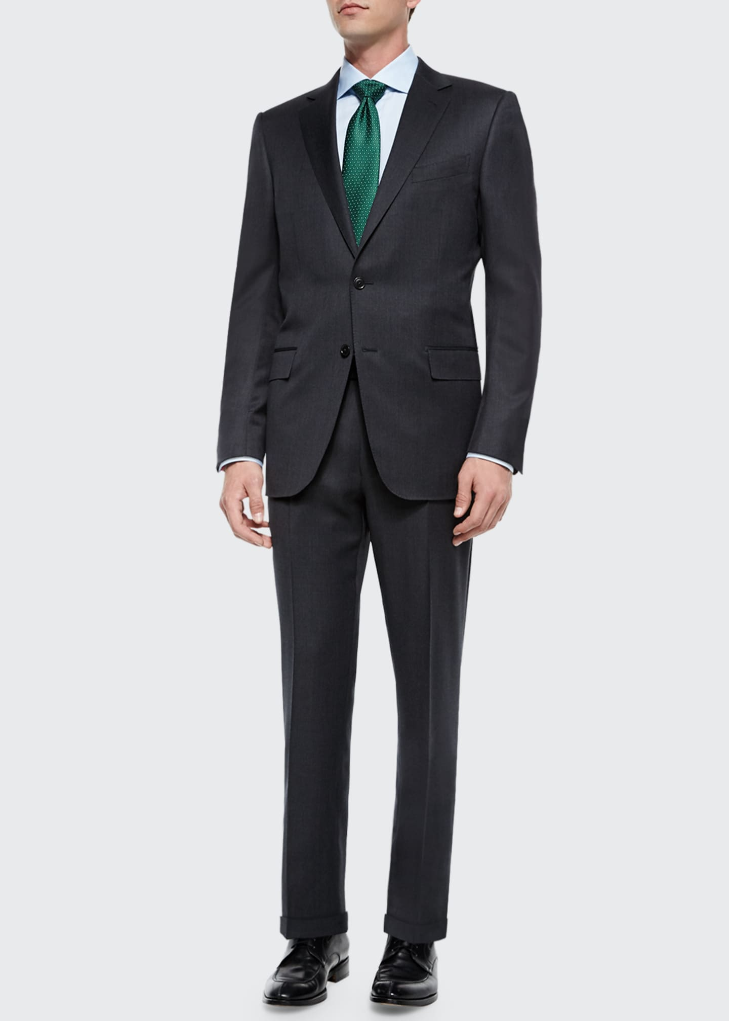 Image 2 of 3: Solid Two-Piece Wool Regular-Fit Suit, Gray