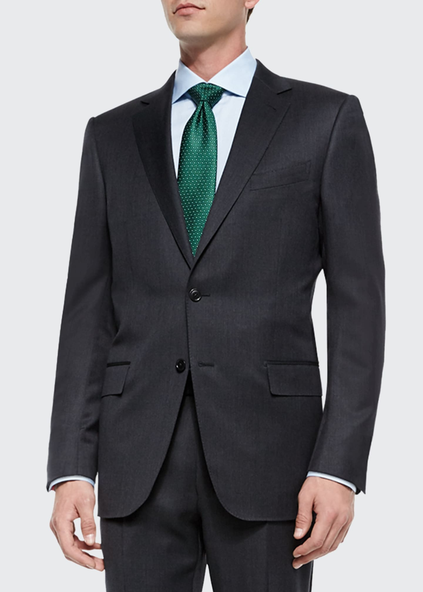 Image 1 of 3: Solid Two-Piece Wool Regular-Fit Suit, Gray