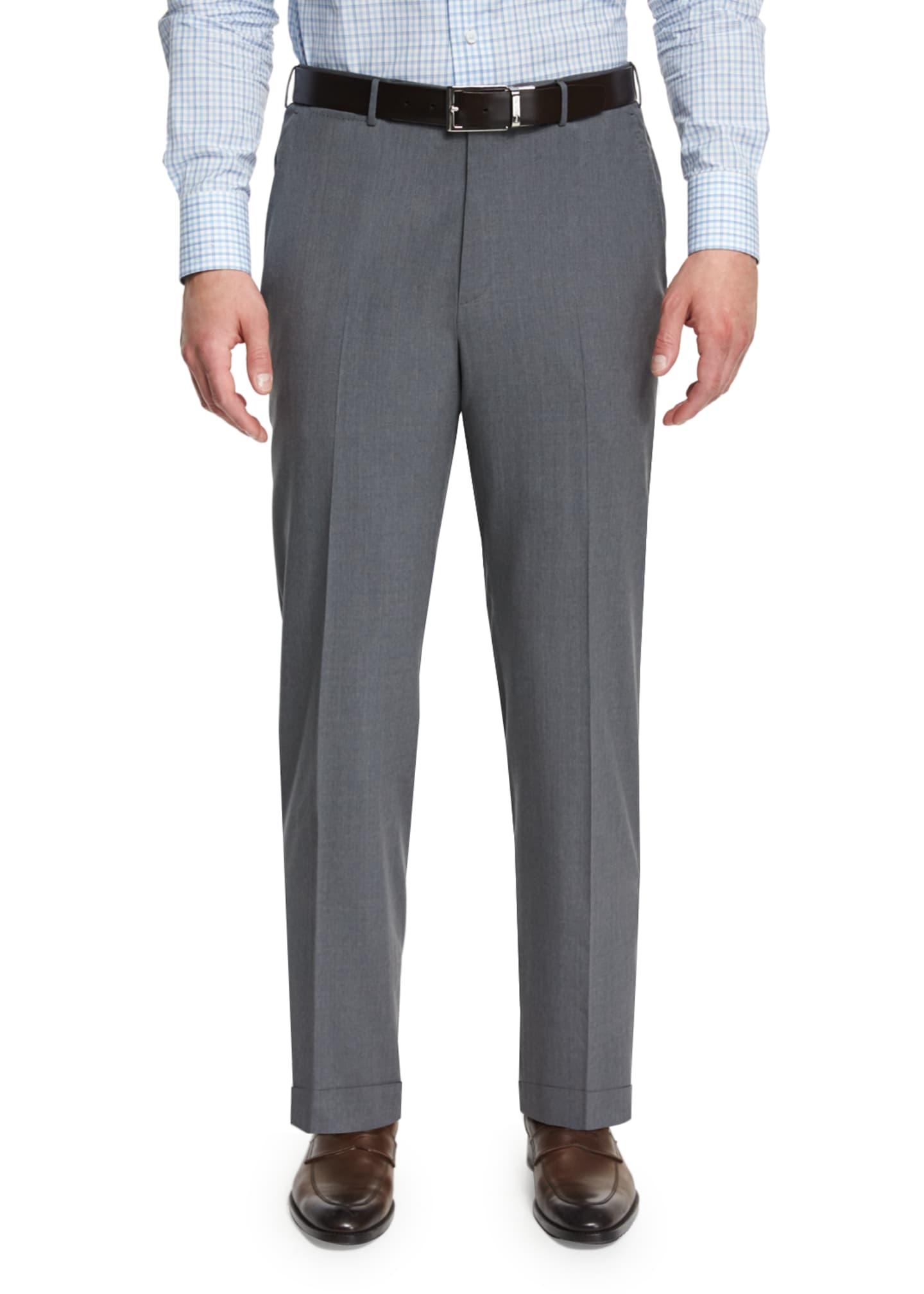 Ermenegildo Zegna High-Performance Wool Twill Trousers, Gray