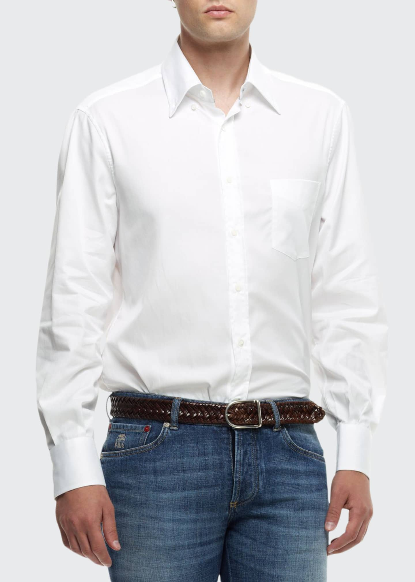 Image 1 of 2: Button-Down Shirt, White