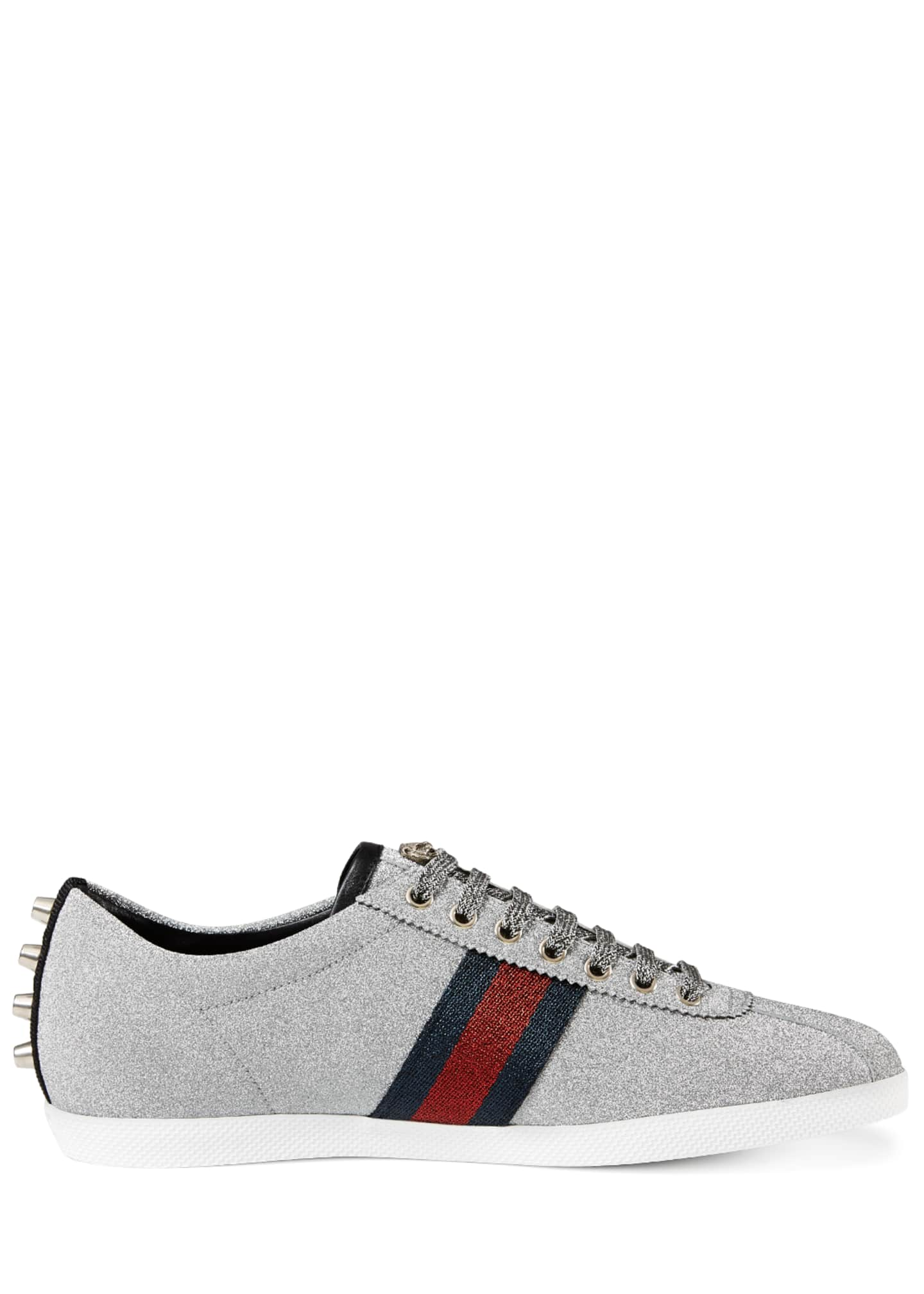 Image 3 of 4: Men's Bambi Web Low-Top Sneakers with Stud Detail, Silver